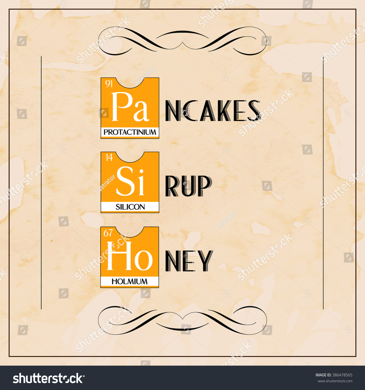 Creative menu breakfast pancakes honey poster stock vector creative menu breakfast pancakes honey poster from periodic table elements vector illustration over texture coffee grunge gamestrikefo Images