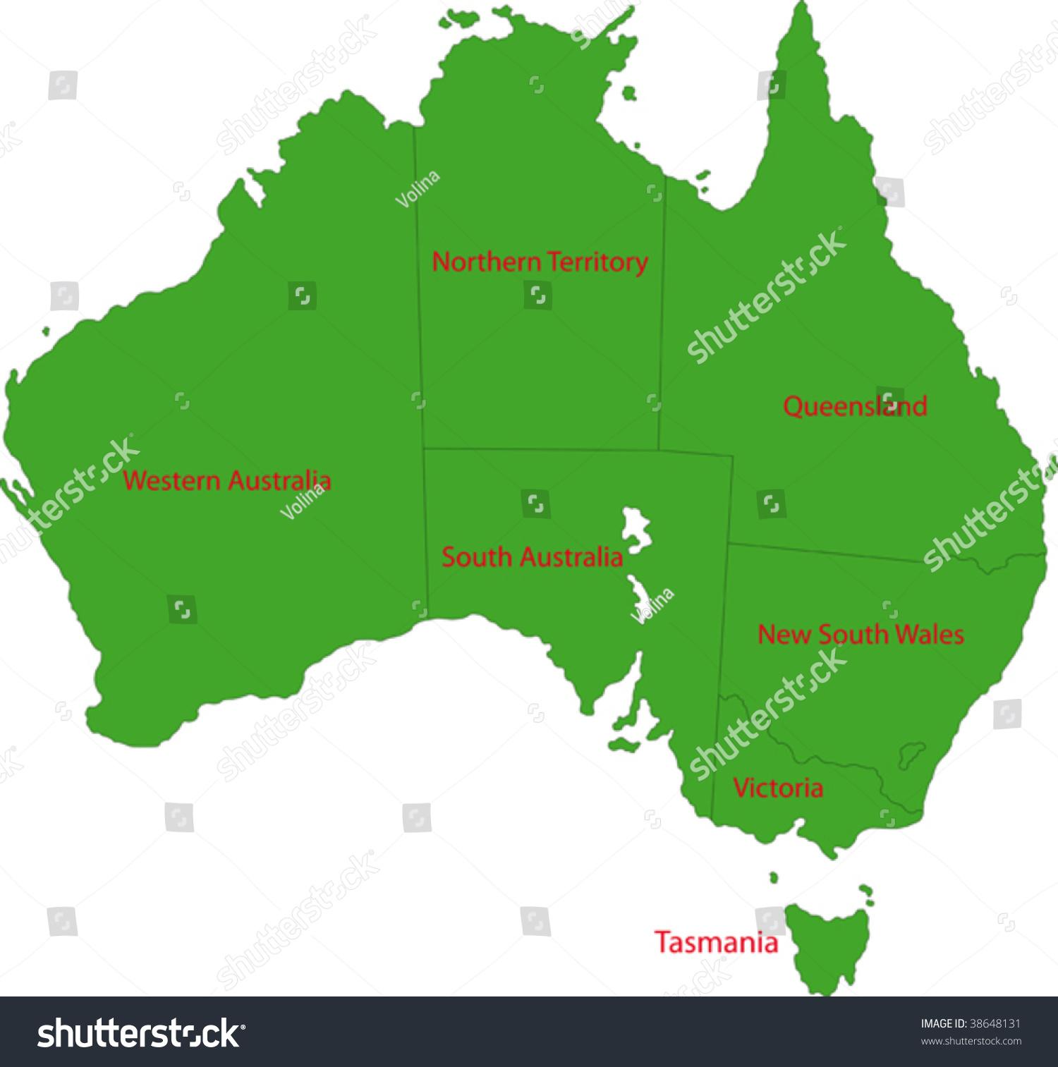 Map Administrative Divisions Australia Stock Vector 38648131
