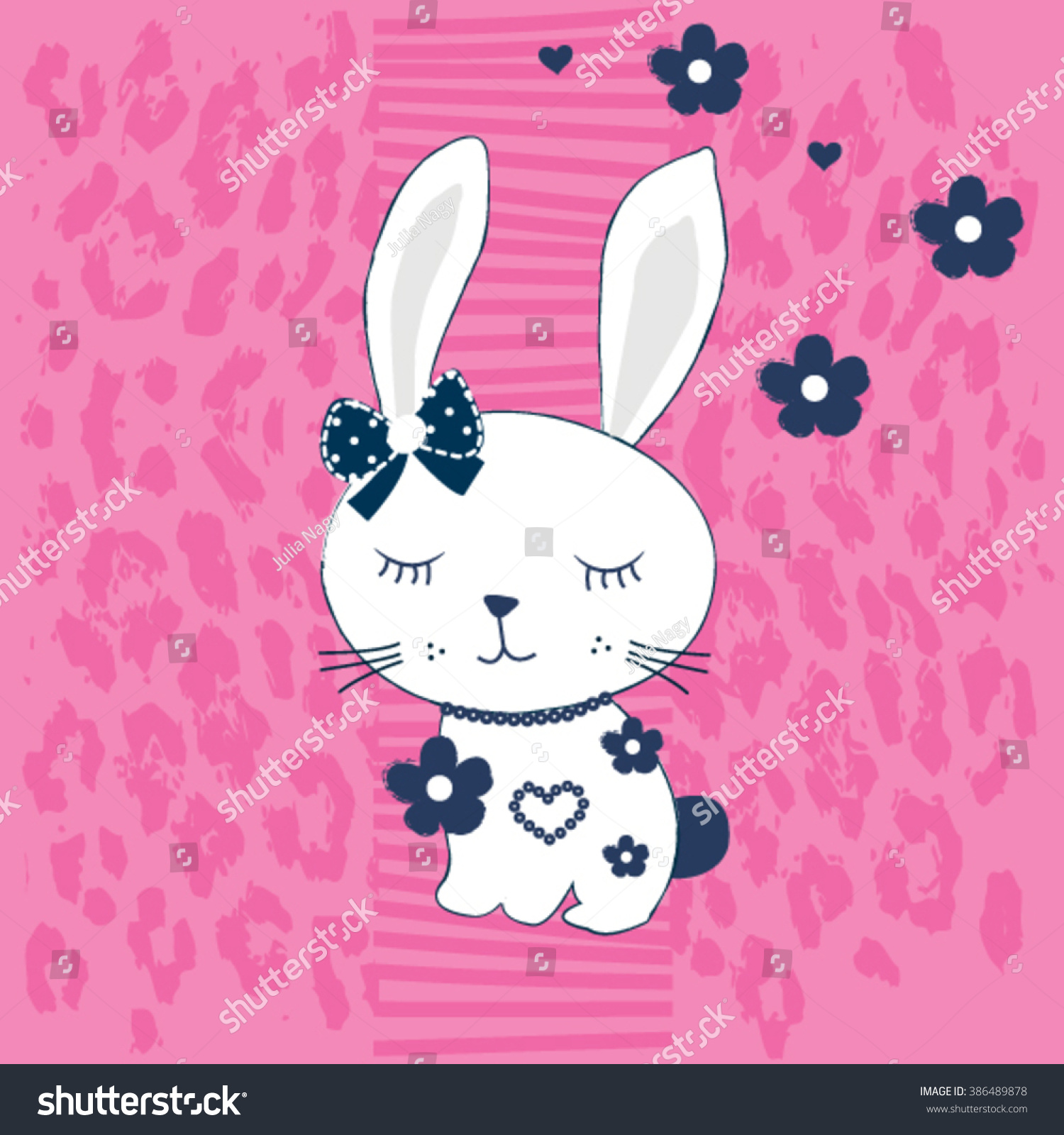 Shirt design card - Cute White Bunny Girl With Flower On Leopard Pattern Background Happy Easter Card T