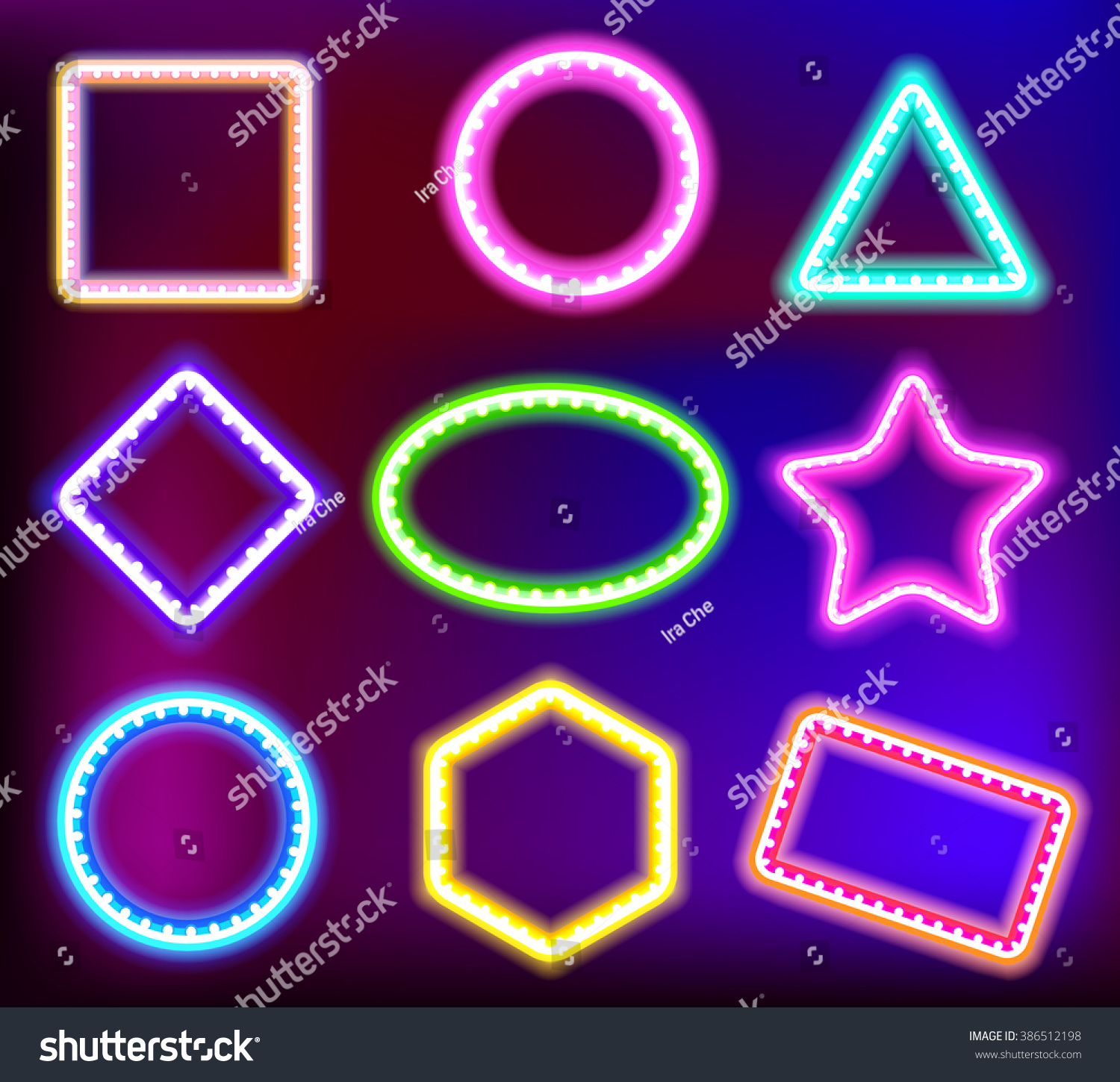 neon framework text neon light form stock vector  neon framework for text neon light in the form of star circle square