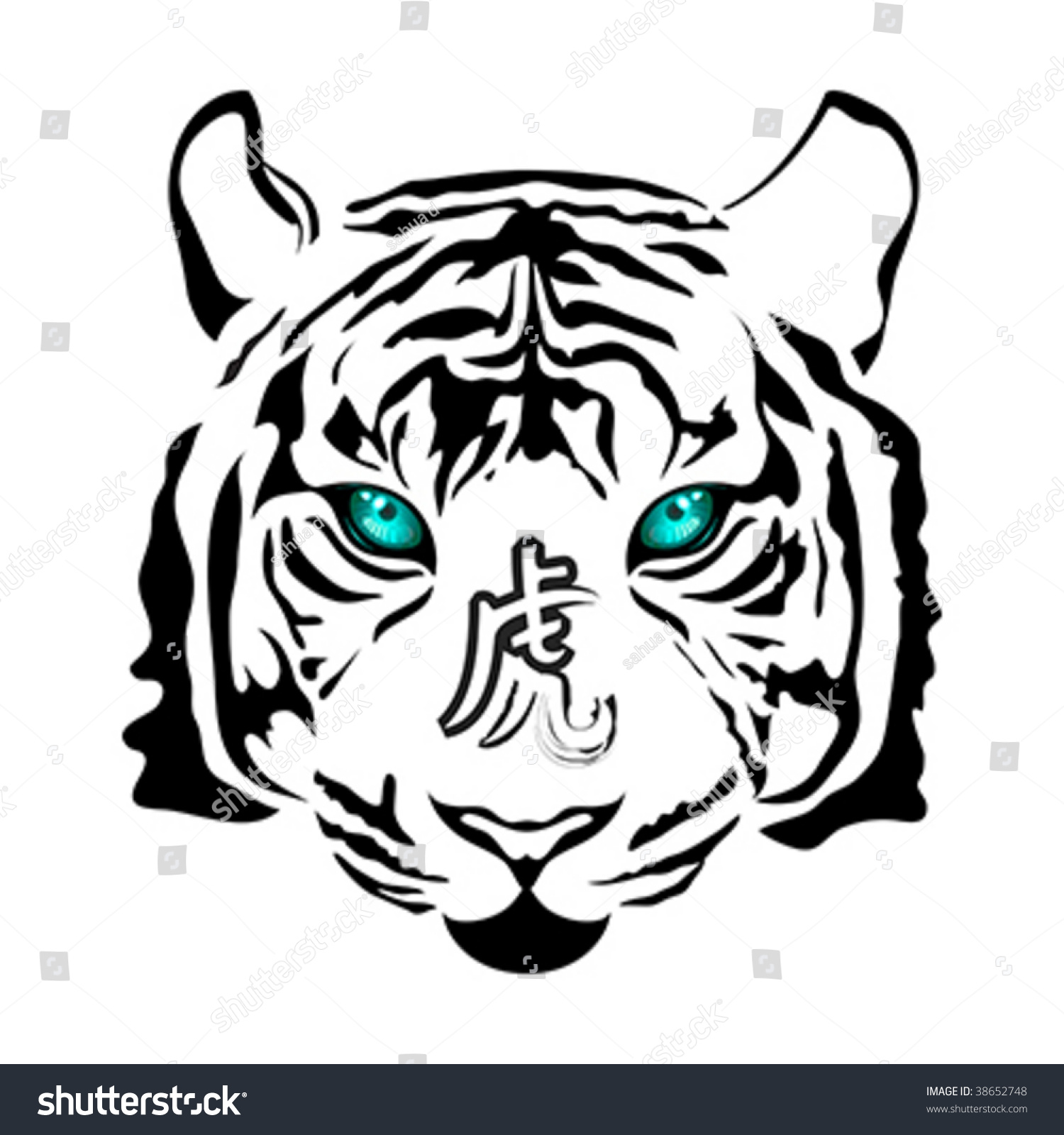 White tiger zodiac symbol 2010 head stock vector 38652748 white tiger zodiac symbol of 2010 head with calligraphy sign biocorpaavc
