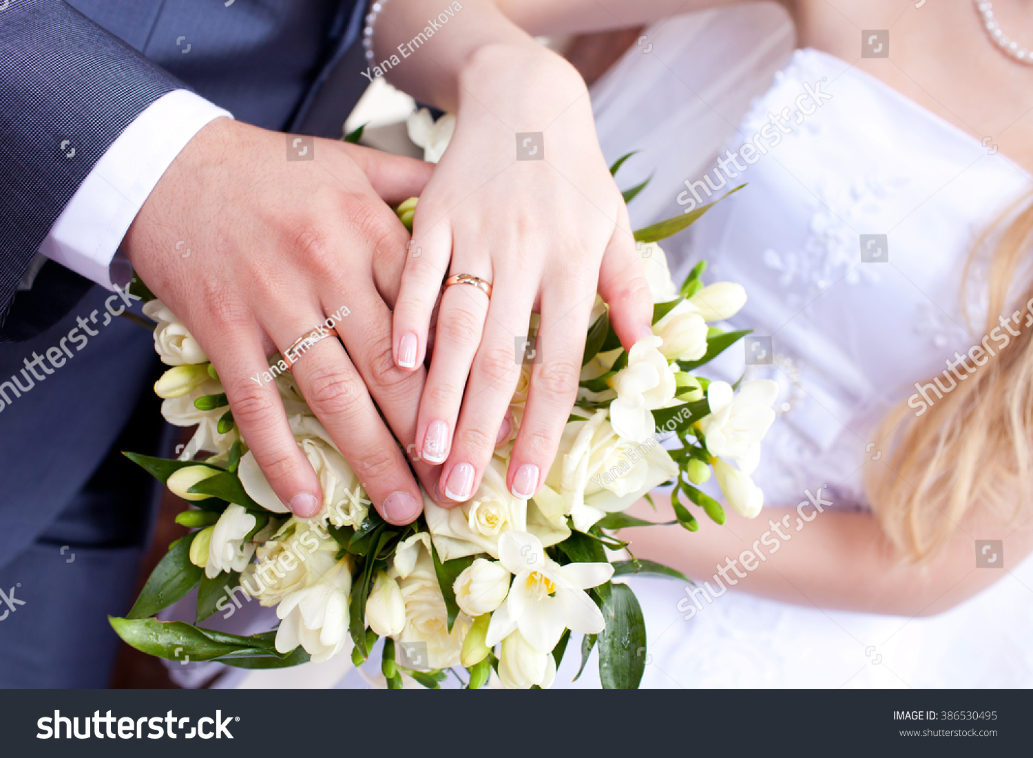 Hands Groom Bride Rings Bridal Bouquet Stock Photo (100% Legal ...