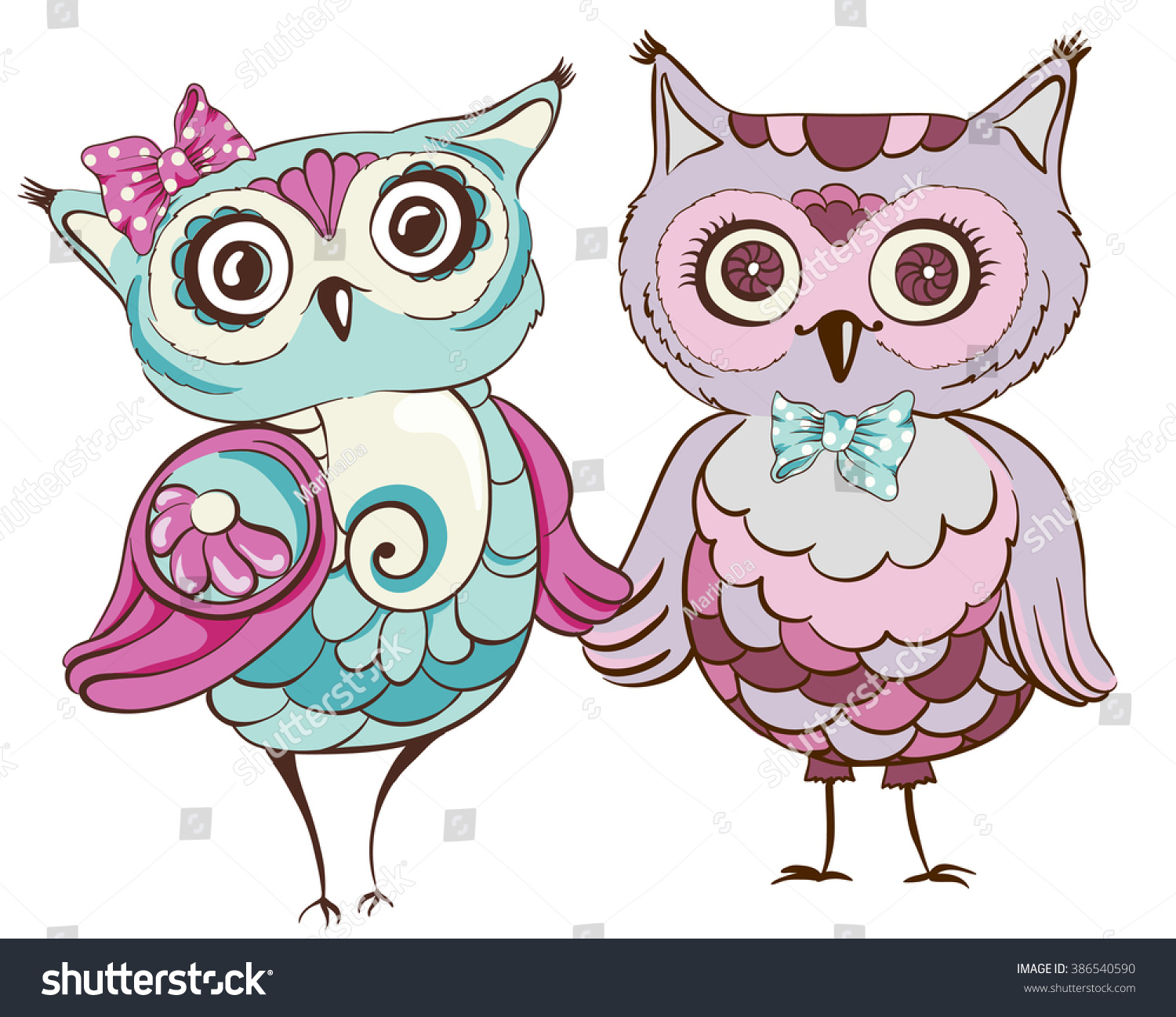 Love birds Greeting card with cute owls couple Vector hand drawn illustration