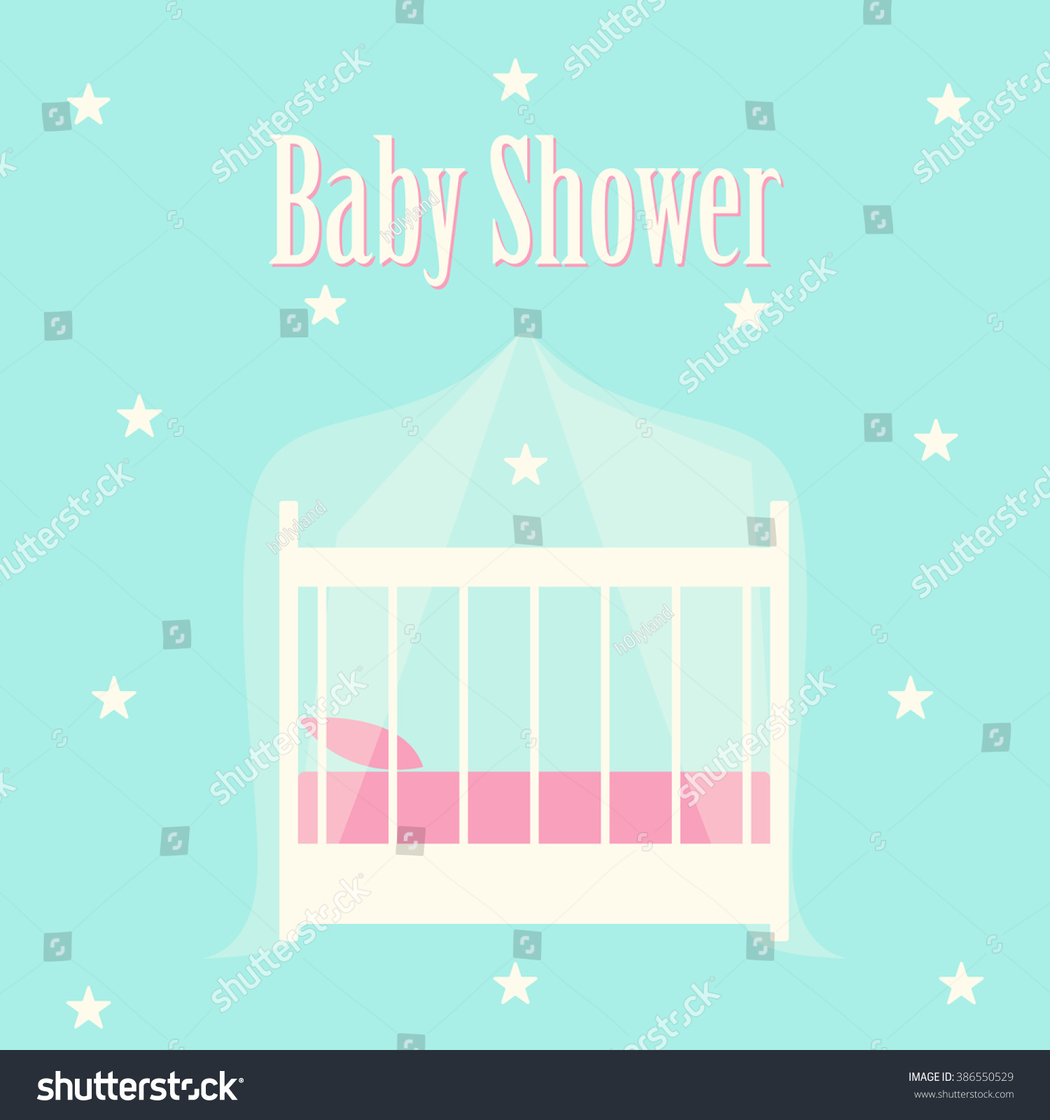 Baby Shower Invitation Cute Card Template Stock Vector 386550529 ...