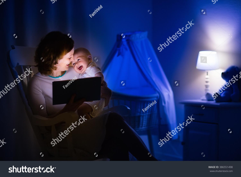 Dark Bedroom At Night Mother Baby Reading Book Dark Bedroom Stock Photo 386551498