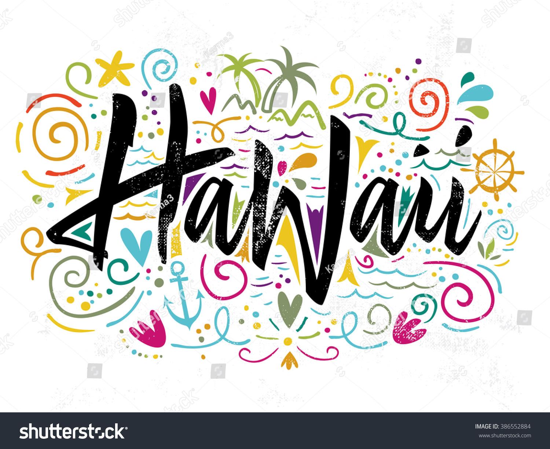 T shirt design hawaii - Print For T Shirt Hawaii Hand Lettering Vector Illustration