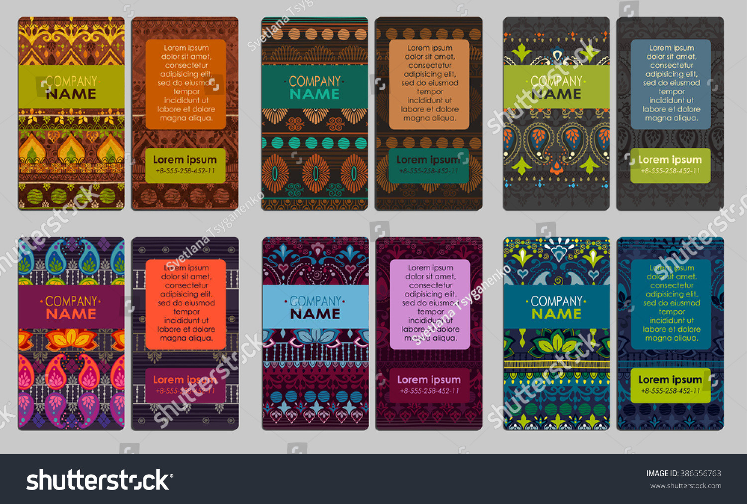 Collection Colorful Ornamental Business Card Can Stock Photo (Photo ...