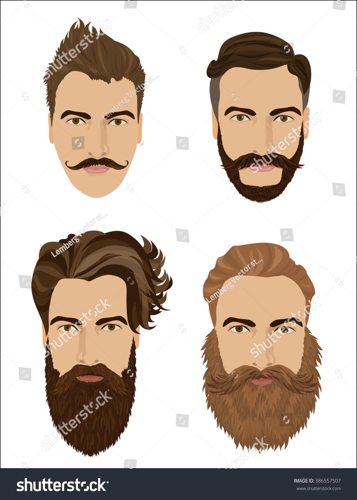 Man Hair Beards Styles Hipster Fashion Stock Vector ...
