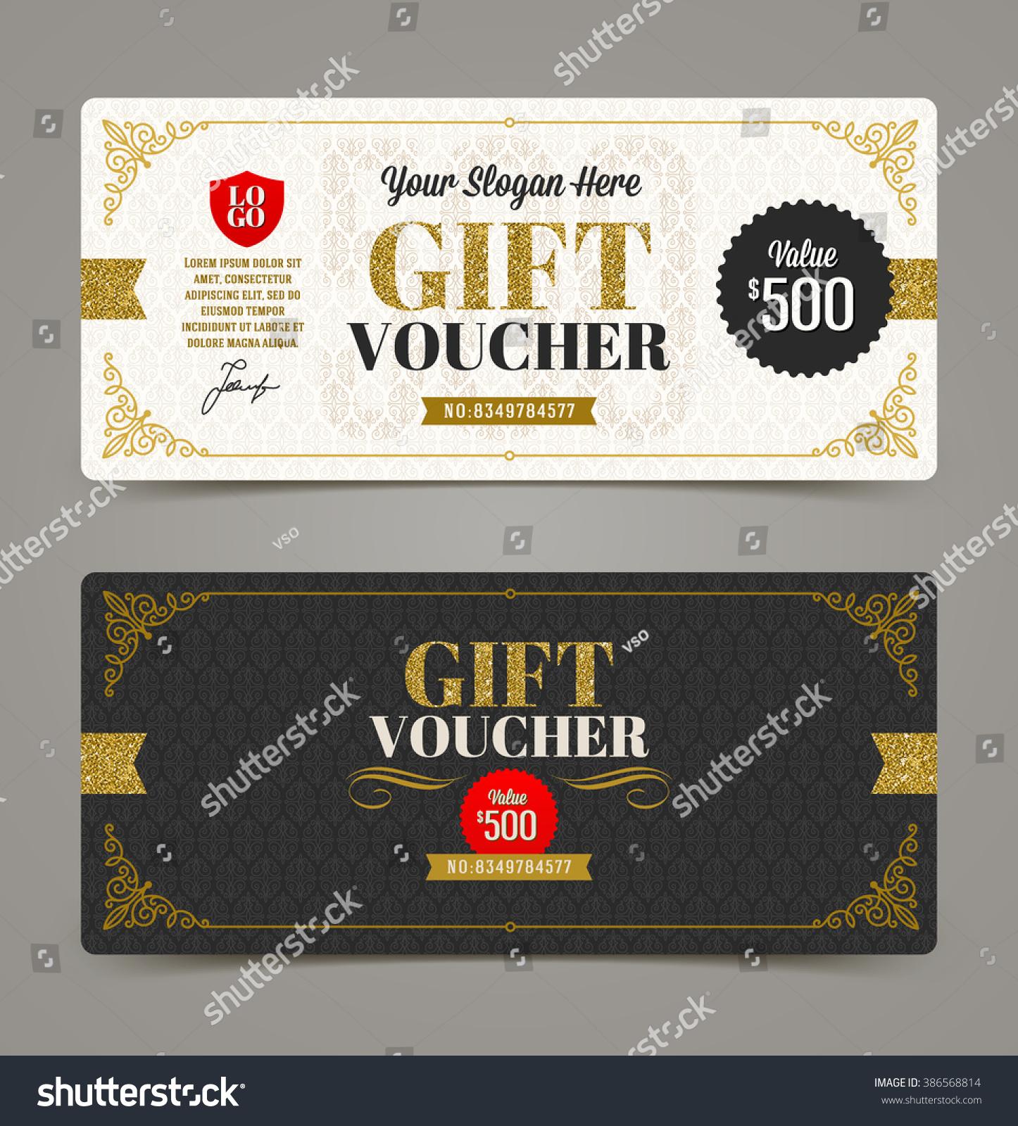 Gift Voucher Template Glitter Gold Vector Stock Vector Royalty Free