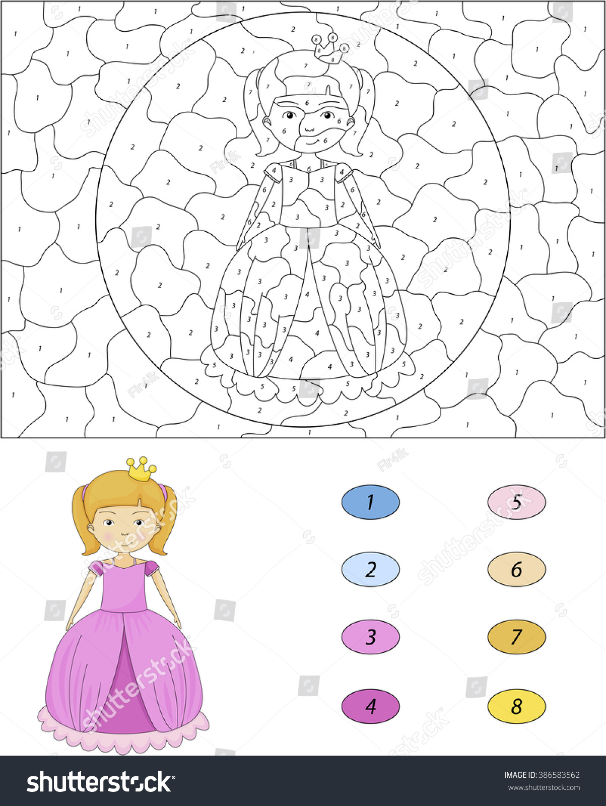 Game color by numbers - Cartoon Princess Color By Number Educational Game For Kids Illustration For Schoolchild And Preschool
