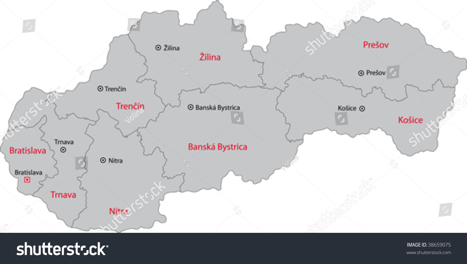 Map Administrative Divisions Slovakia Stock Vector 38659075