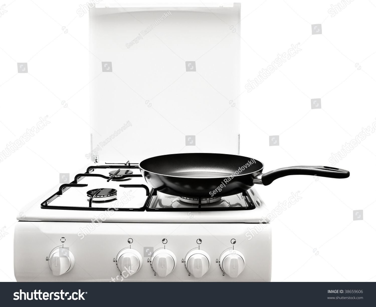 Frying Pan White Gas Stove Over Stock Photo 38659606 - Shutterstock