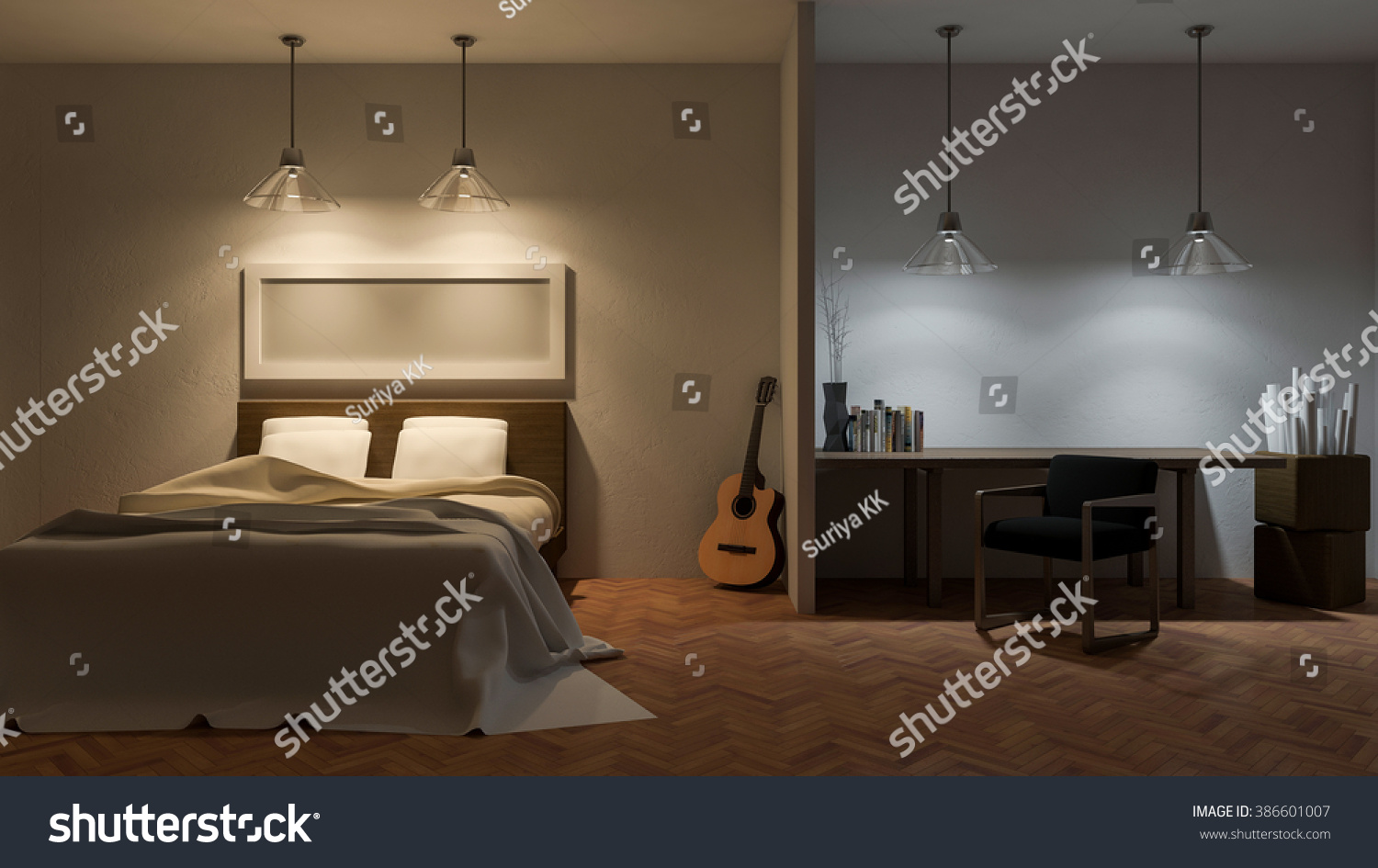 3ds Rendered Image Of Bed Room In Night Time Warm White