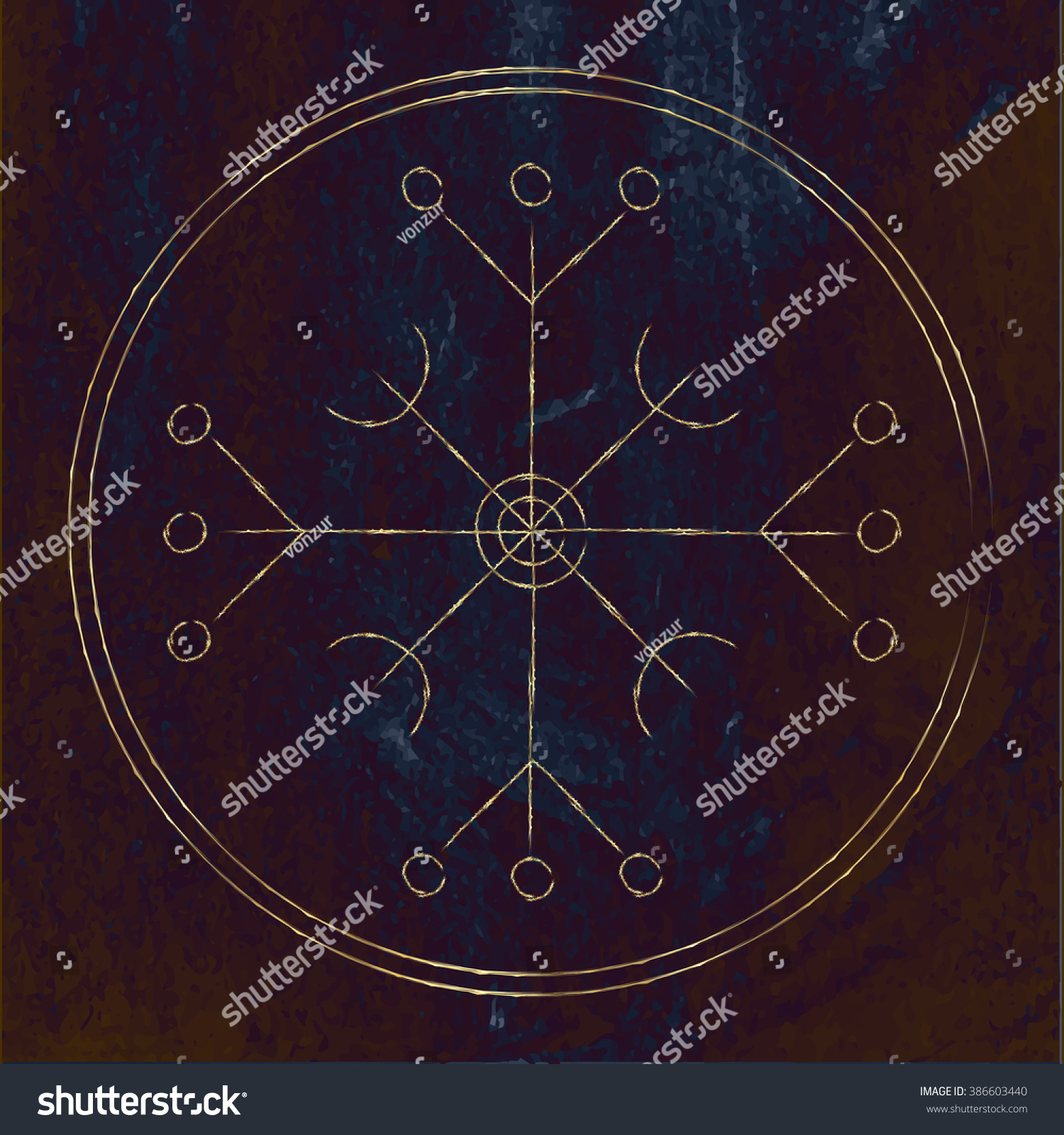 Galdrastafir magic gold runic symbol that stock vector 386603440 magic gold runic symbol that appeared in the early middle ages in iceland buycottarizona Choice Image