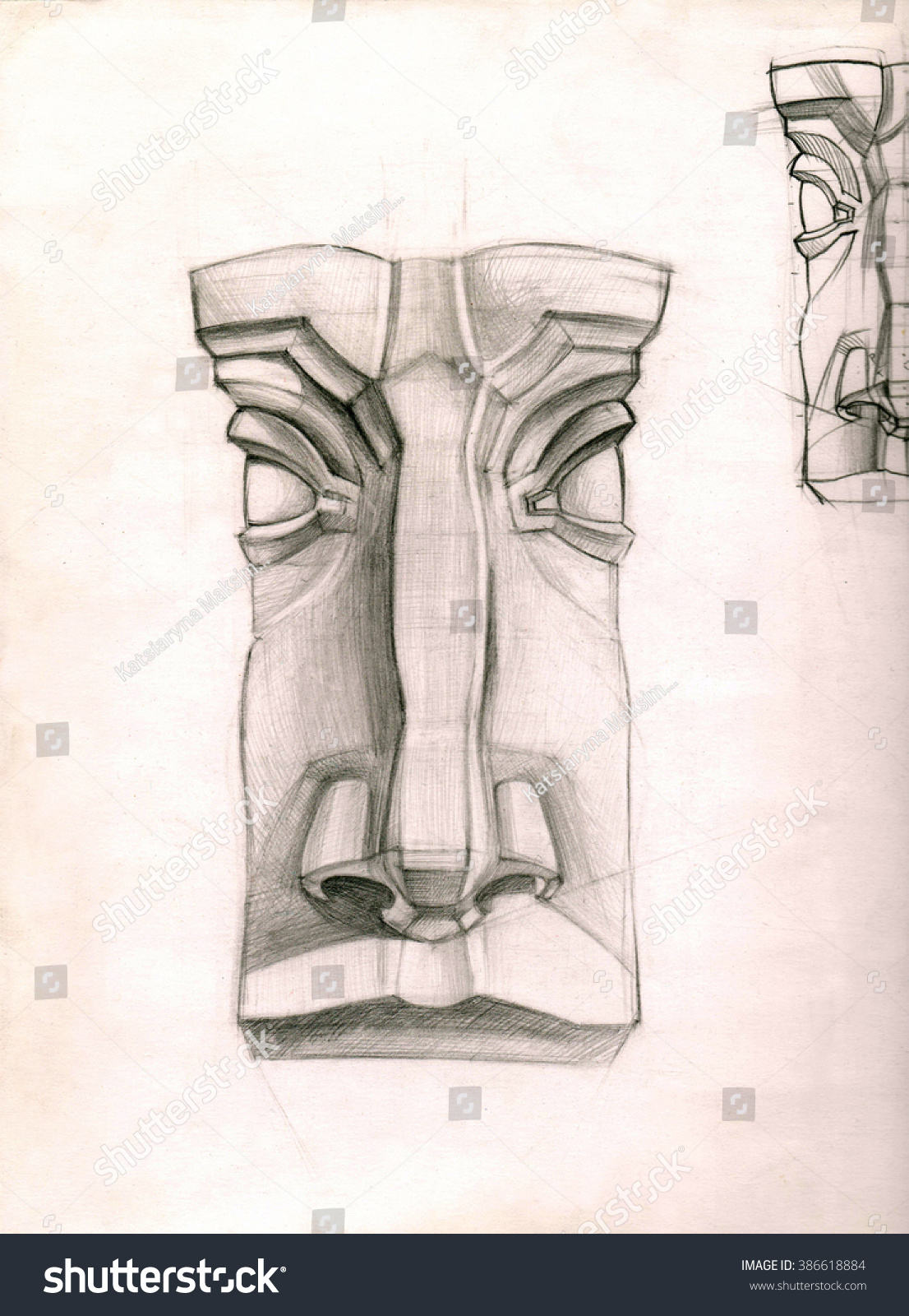 Classic pencil drawing of the nose