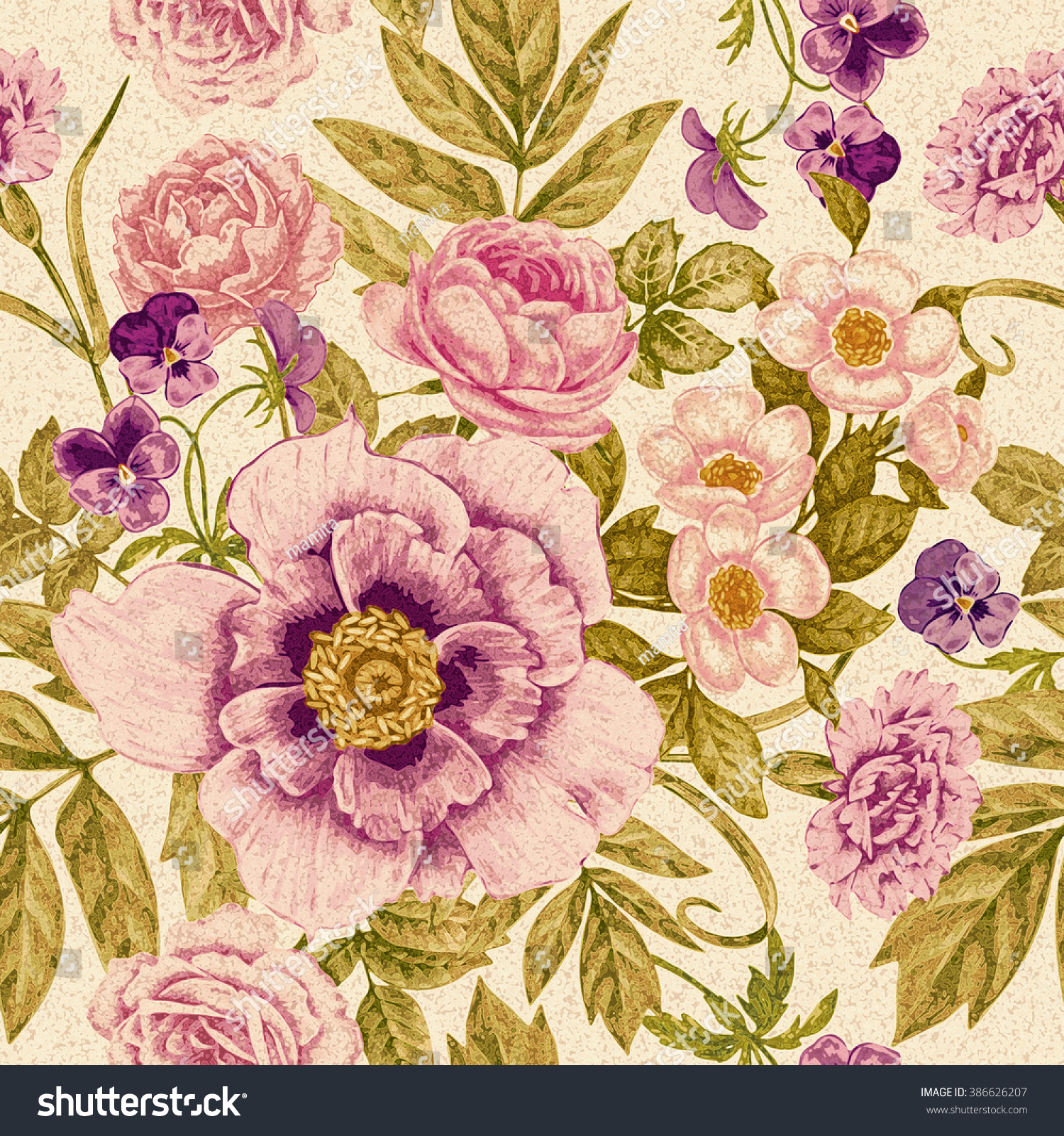 Peonies Roses Pansies Carnations Seamless Pattern Stock Illustration 386626207
