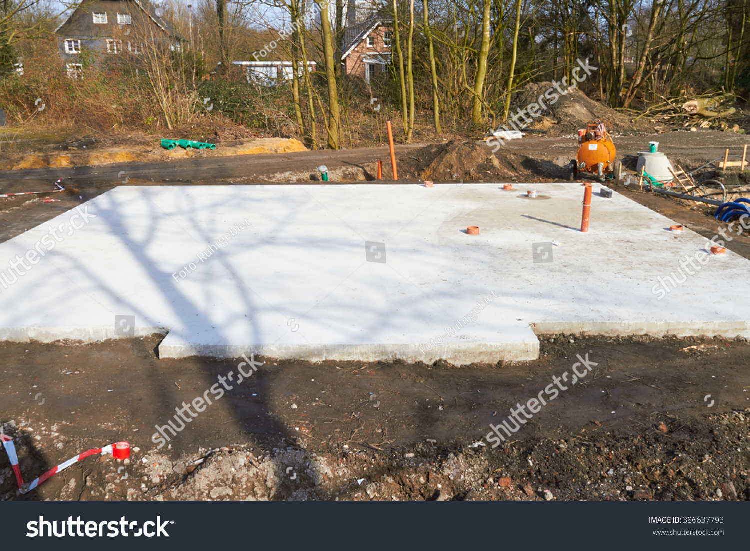 Base Plate Made Of Concrete As The Foundation For The Construction Of A  Prefabricated House.