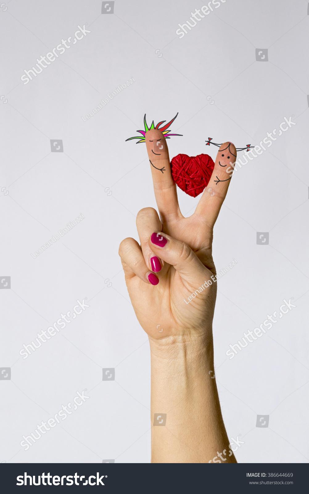 Symbol Loveheart Between Fingers Boy Girl Stock Photo 386644669 ...