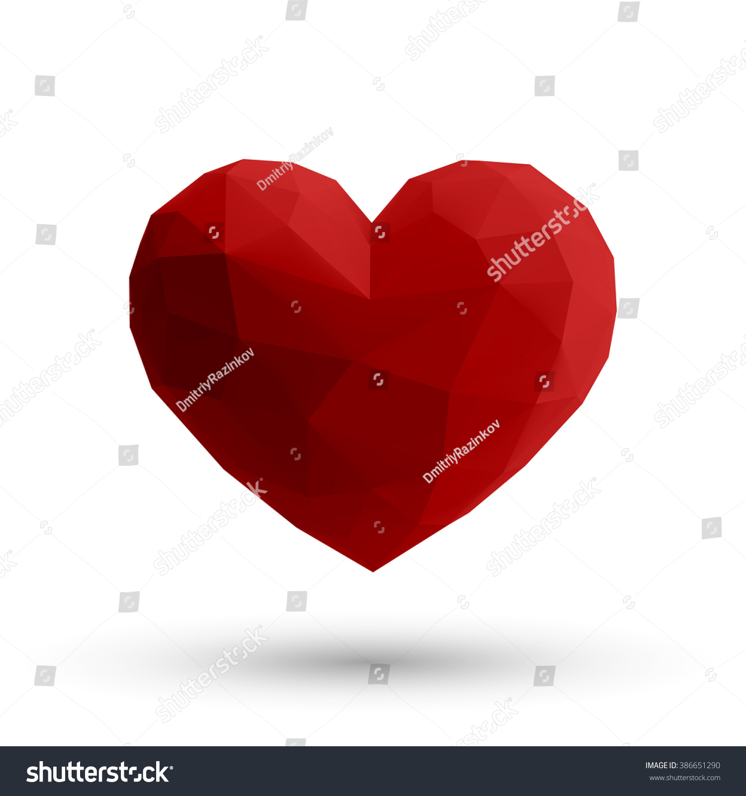 Hover red 3d origami heart design stock vector 386651290 hover red 3d origami heart design with light and shadow eps 10 vector illustration jeuxipadfo Gallery