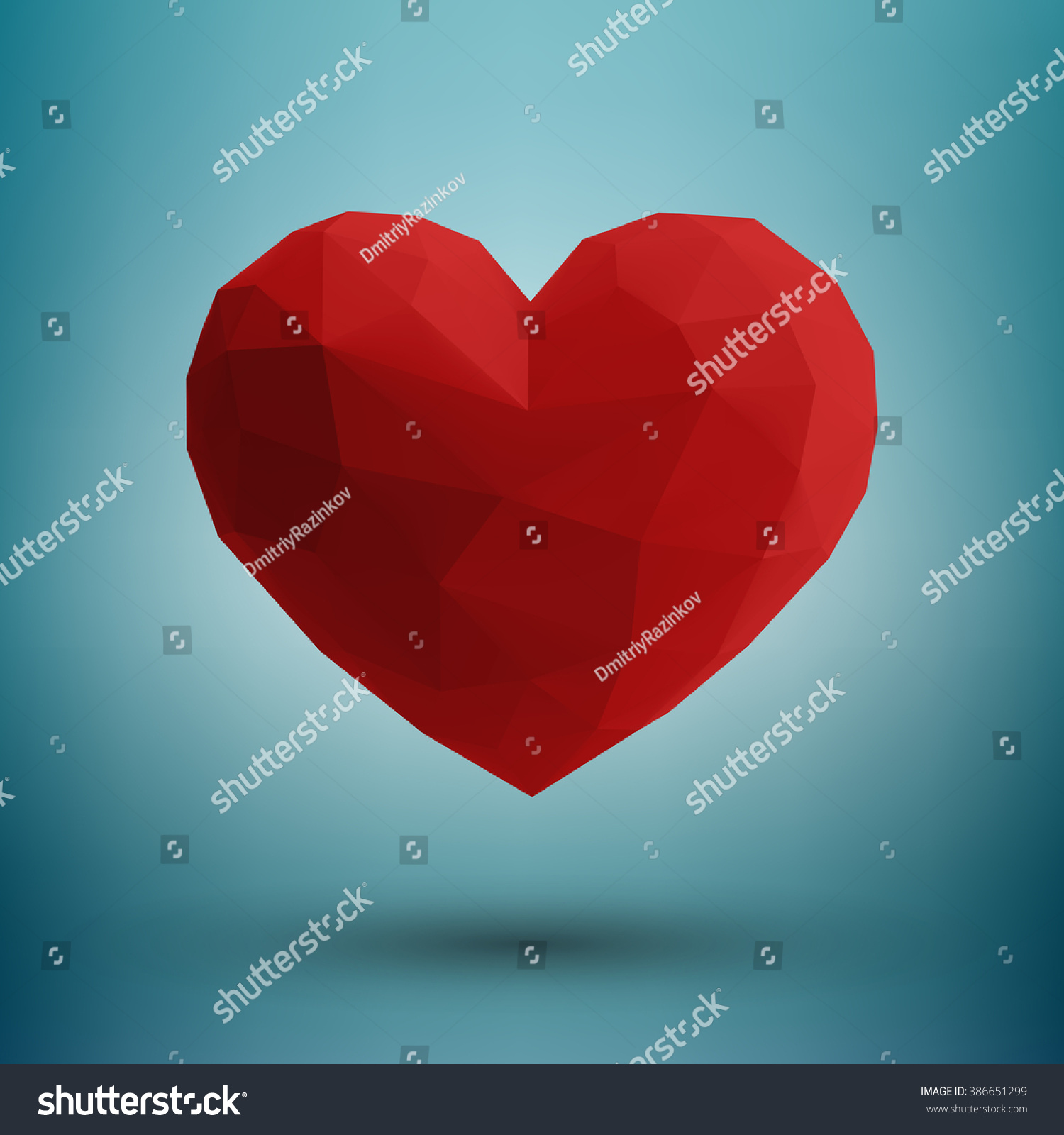 Hover red 3d origami heart design stock vector 386651299 hover red 3d origami heart design with light and shadow on dark blue white abstract jeuxipadfo Gallery