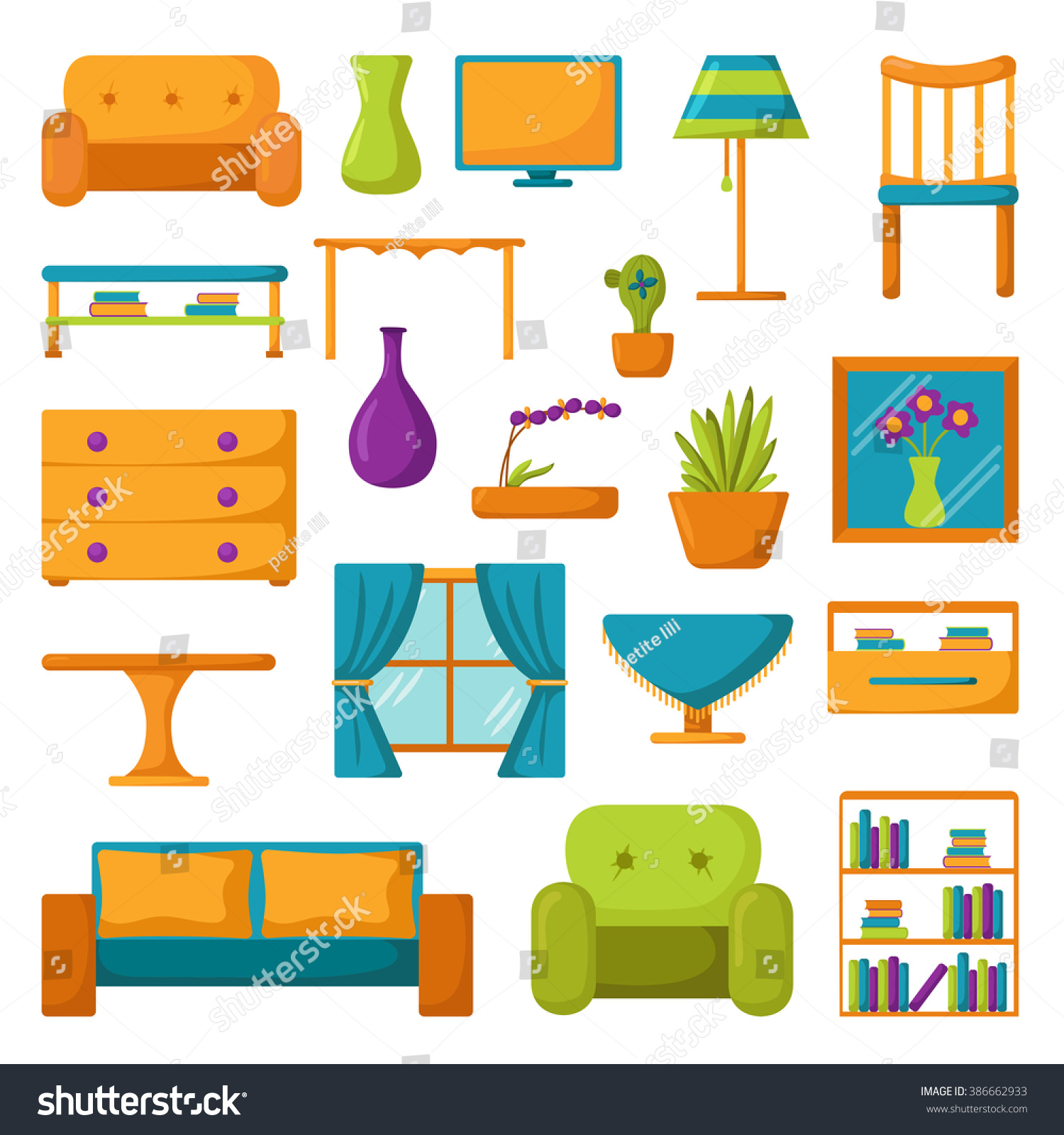 Living Room Clip Art: Living Room Interior. Living Room Furniture. Set Of Vector