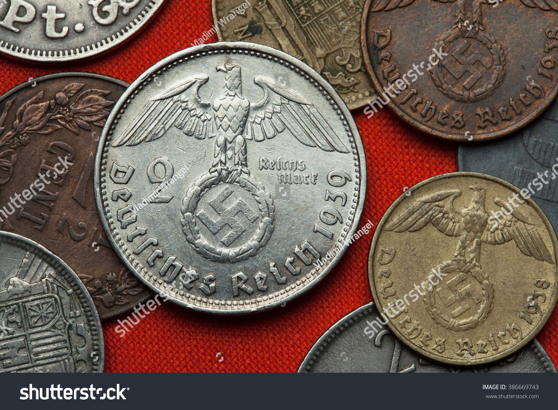 Coins Nazi Germany Nazi Eagle Atop Stock Photo Edit Now 386669743