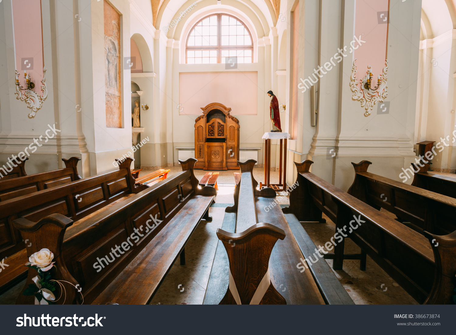 Minsk Belarus May 20 2015 Empty benches in Cathedral of Saint Virgin Mary in Minsk Belarus