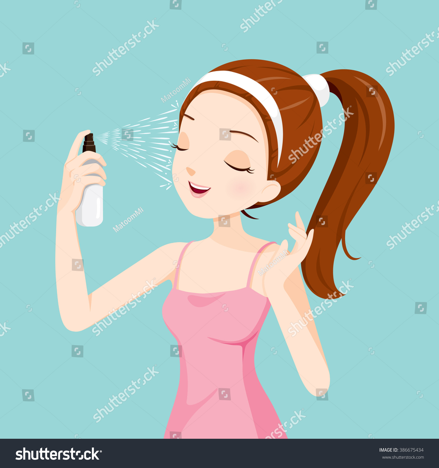 Girl Spraying Mineral Water On Her Face Treatment Skin Beauty Cosmetic Makeup Healthy Lifestyle