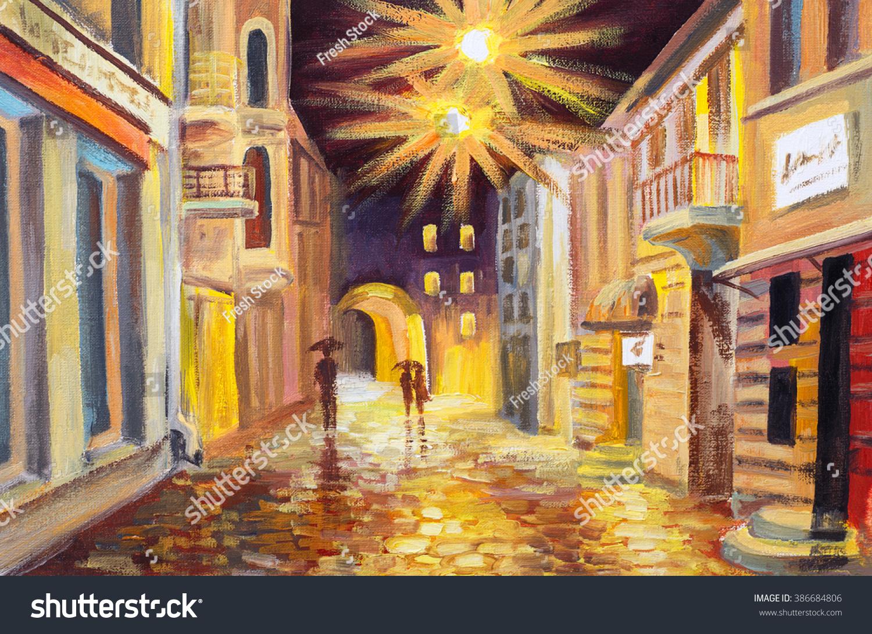 Autumn Street Oil Painting - German Literature