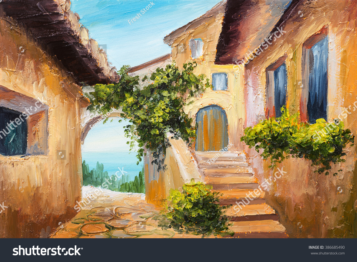 oil painting house near the sea colorful flowers