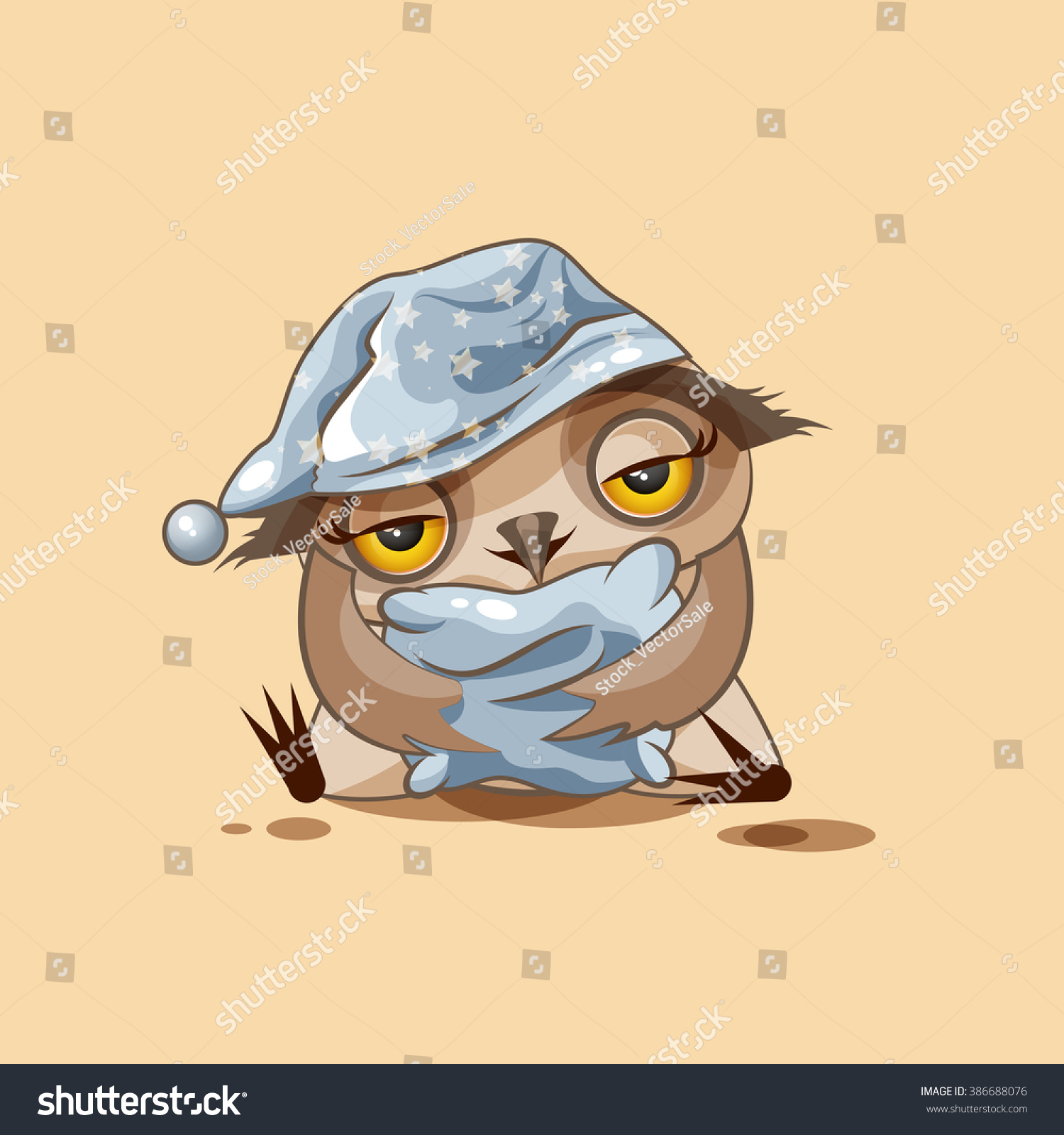 Vector stock illustration isolated emoji character stock vector vector stock illustration isolated emoji character cartoon sleepy owl in nightcap with pillow sticker emoticon for biocorpaavc Image collections