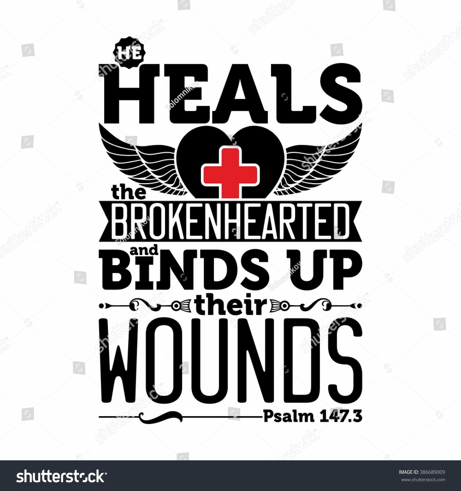 Biblical Illustration He Heals Brokenhearted Binds Stock