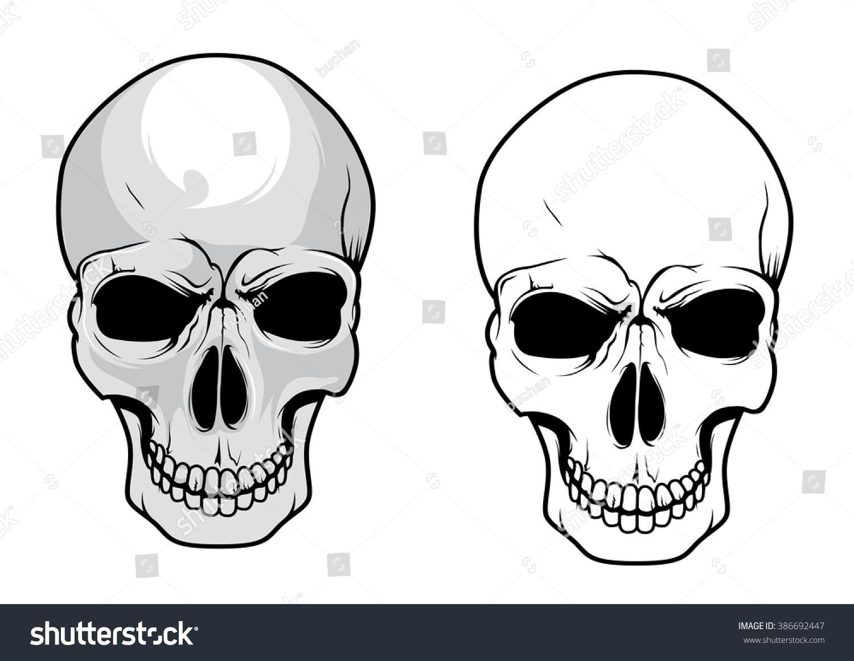 Wicked Human Skulls Dark Eye Sockets Stock Vector (Royalty Free ...