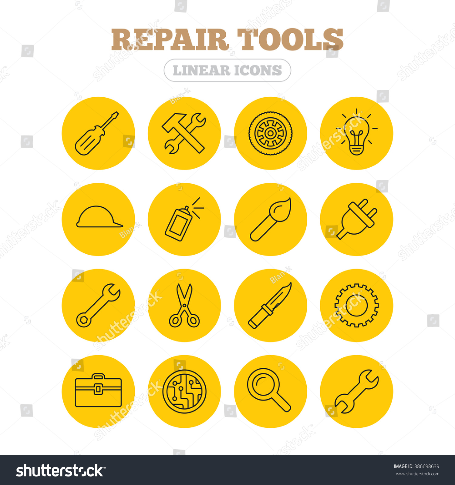 Repair Tools Icons Hammer Wrench Key Stock Illustration 386698639 Circuit Board With Wheel And Brush Screwdriver Electric