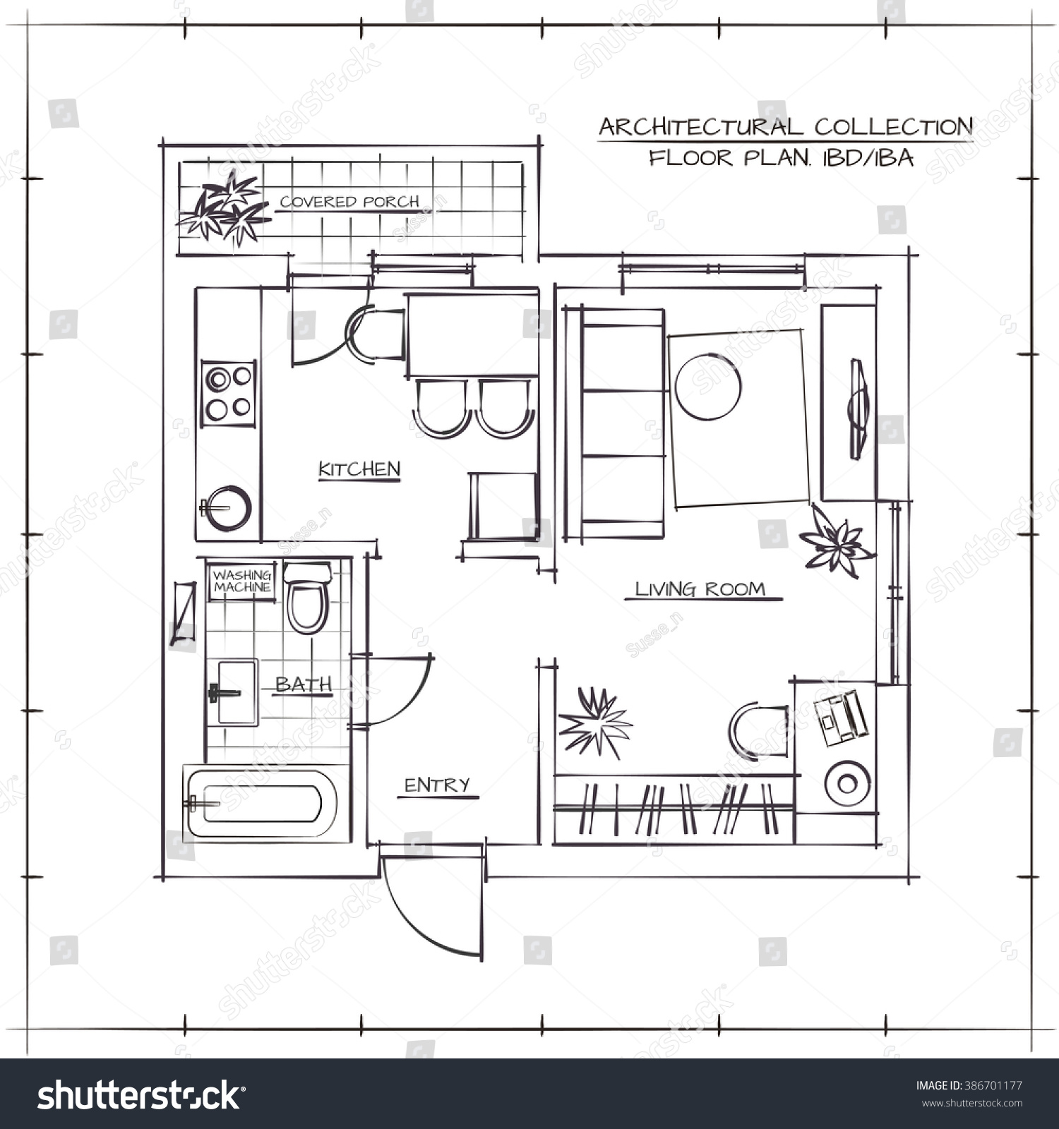 Architectural Hand Drawn Floor Plan Bedroom Stock Vector Royalty Schematic Planone Apartment