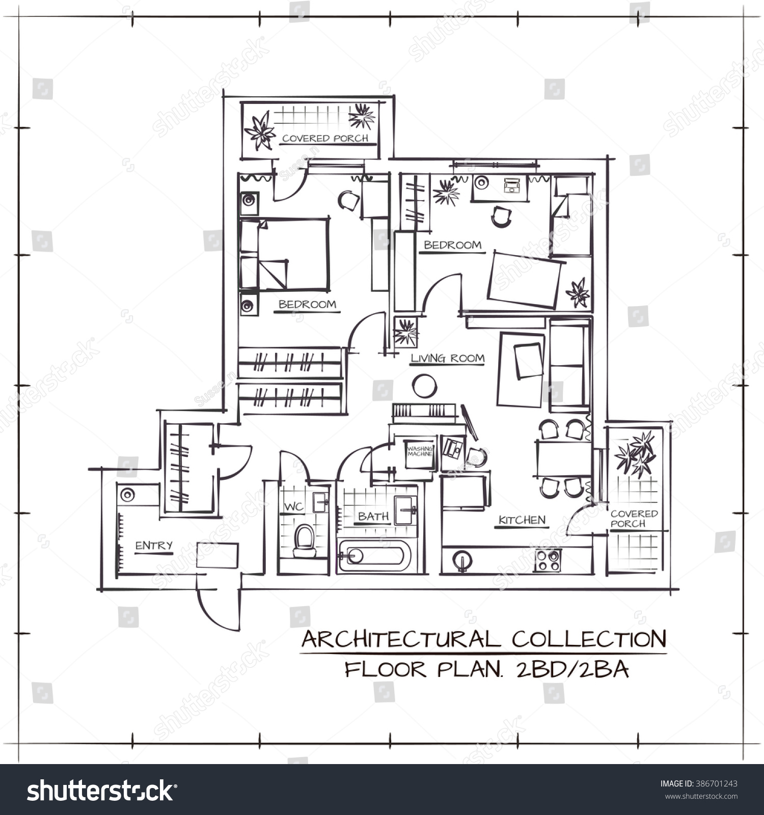 100 two bedroom apartment floor plan rockland for Apartment stock plans