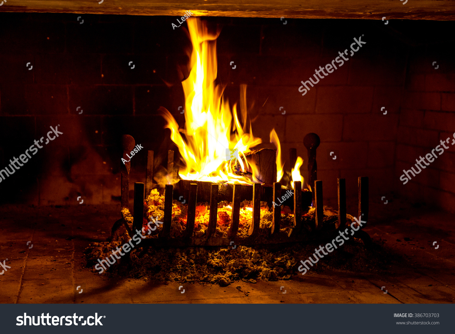 traditional fireplace burning firewood charcoal modern stock photo