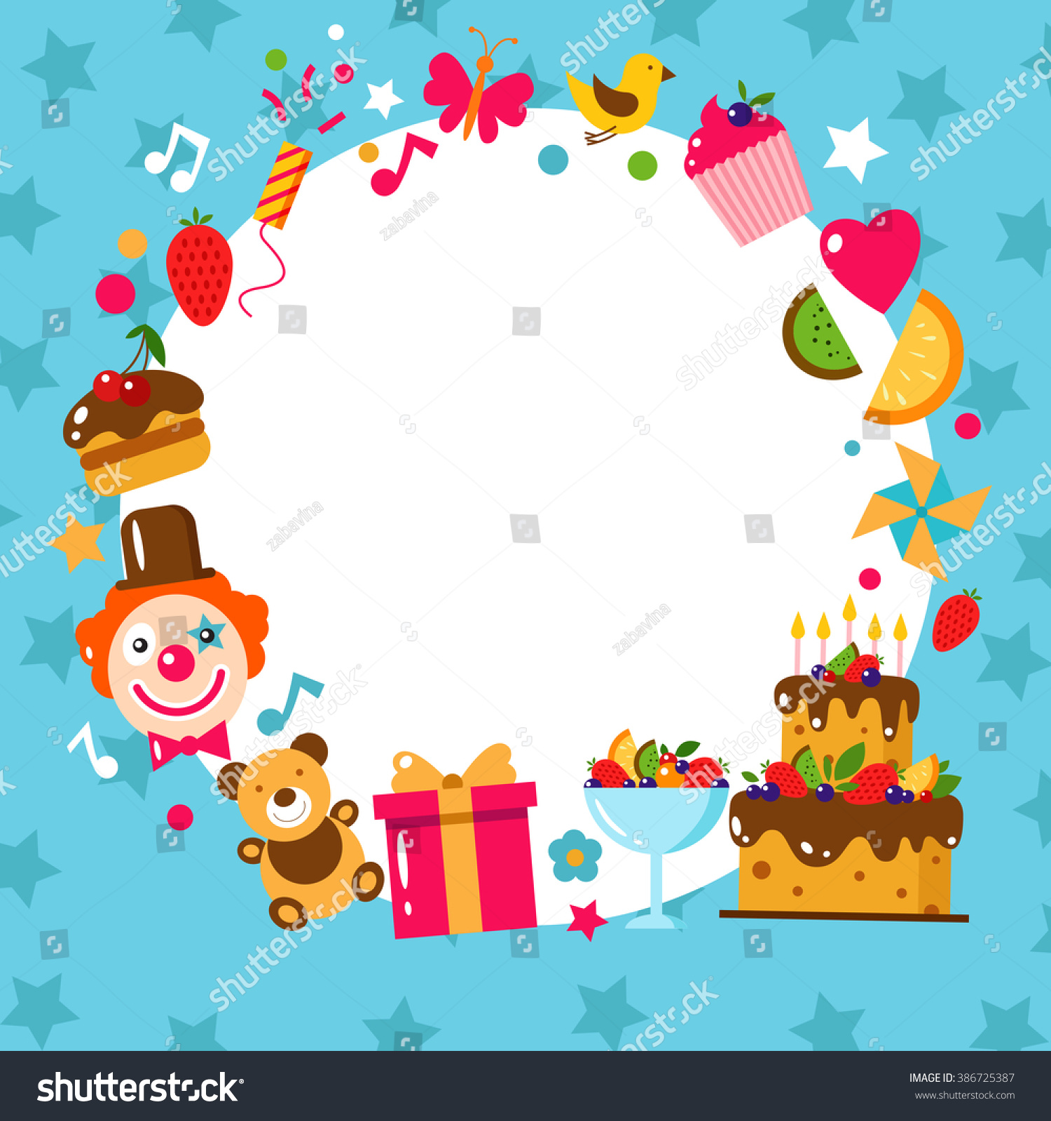 Happy Birthday Template Card Flat Vector Vector 386725387 – Happy Birthday Kids Cards