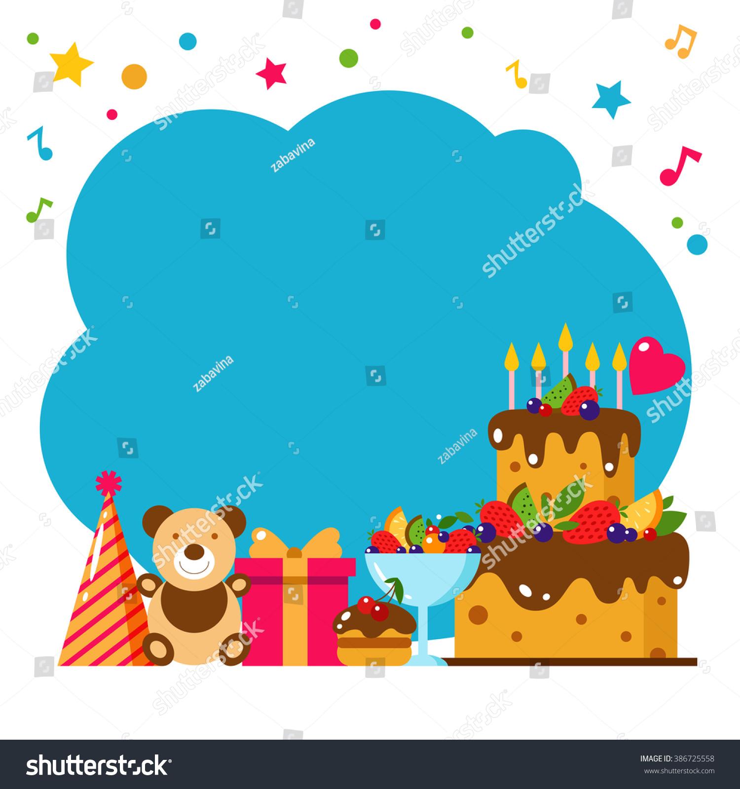 Happy Birthday Card Flat Vector Illustration Kids Party Design Elements Frame Invitation