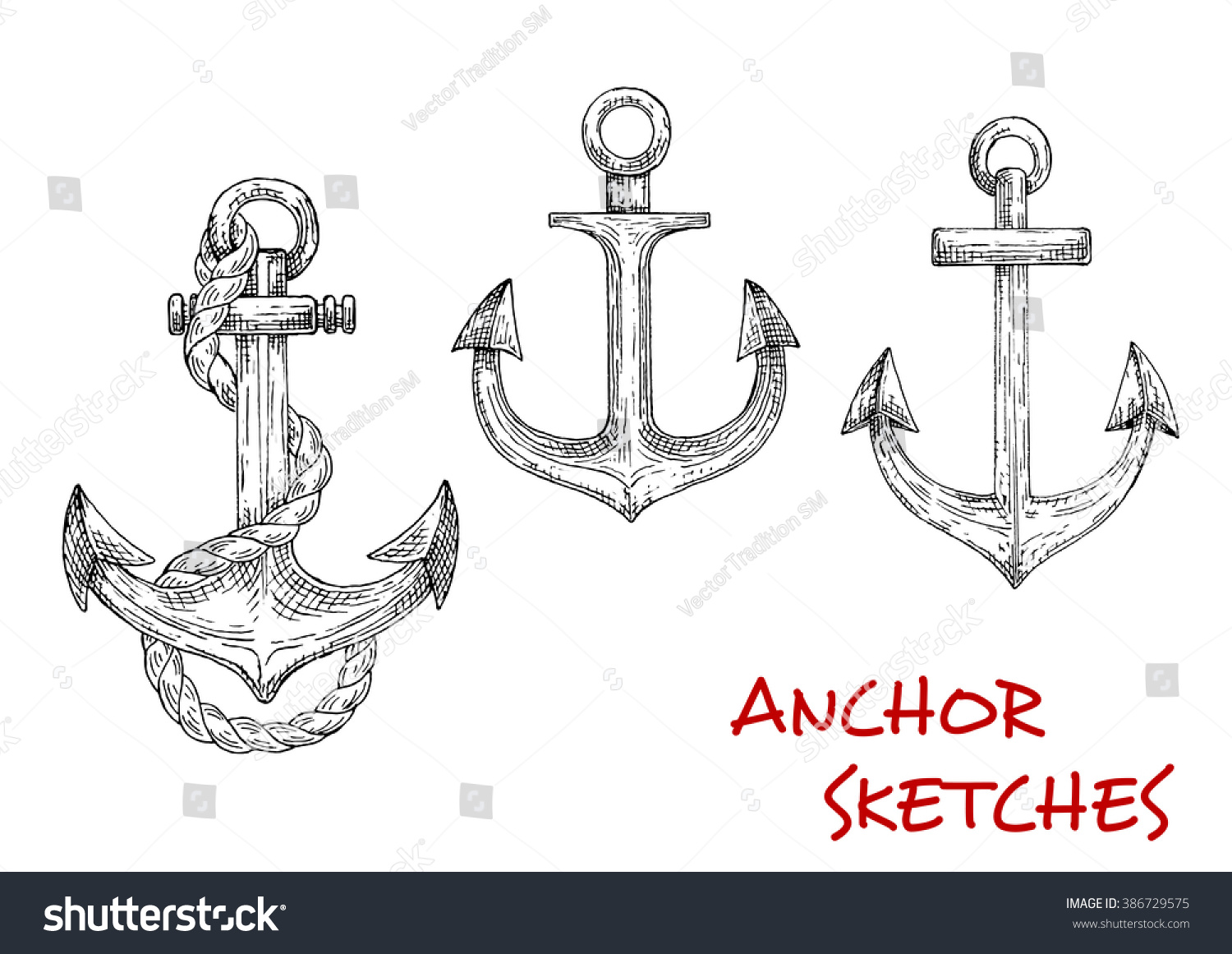 Old nautical anchors medieval sailboats pirate stock vector old nautical anchors of medieval sailboats or pirate ships decorated by ropes may be buycottarizona