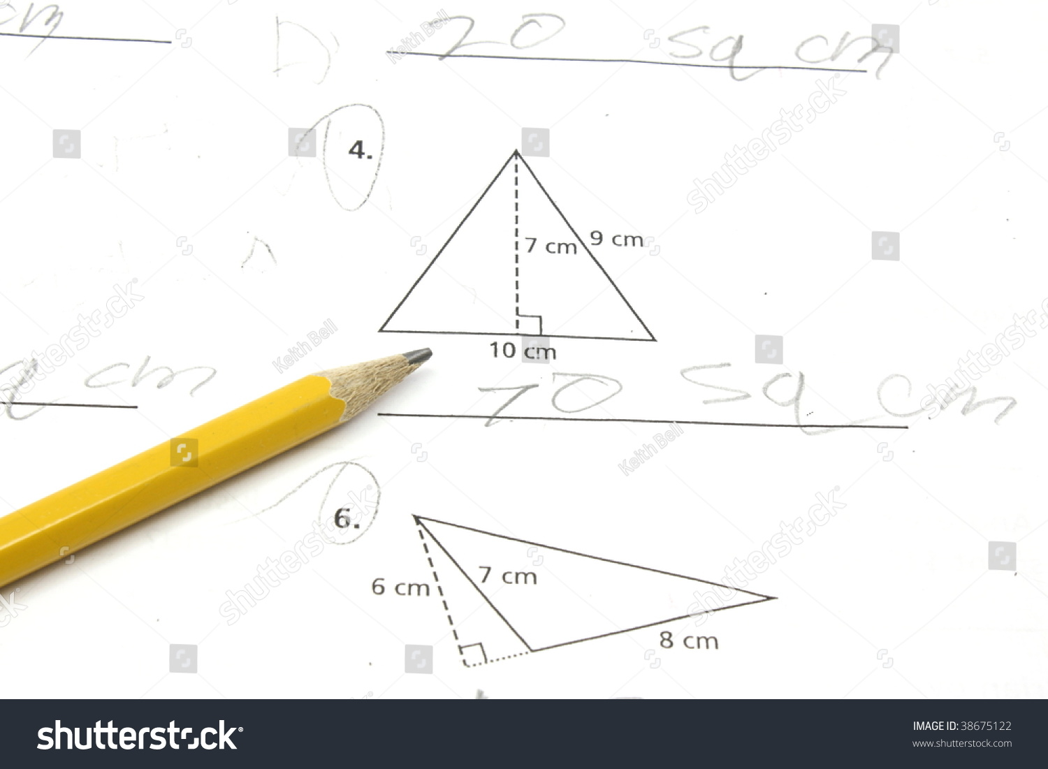 Paper Pencil On Math Problem Figuring Stock Photo (Royalty Free ...