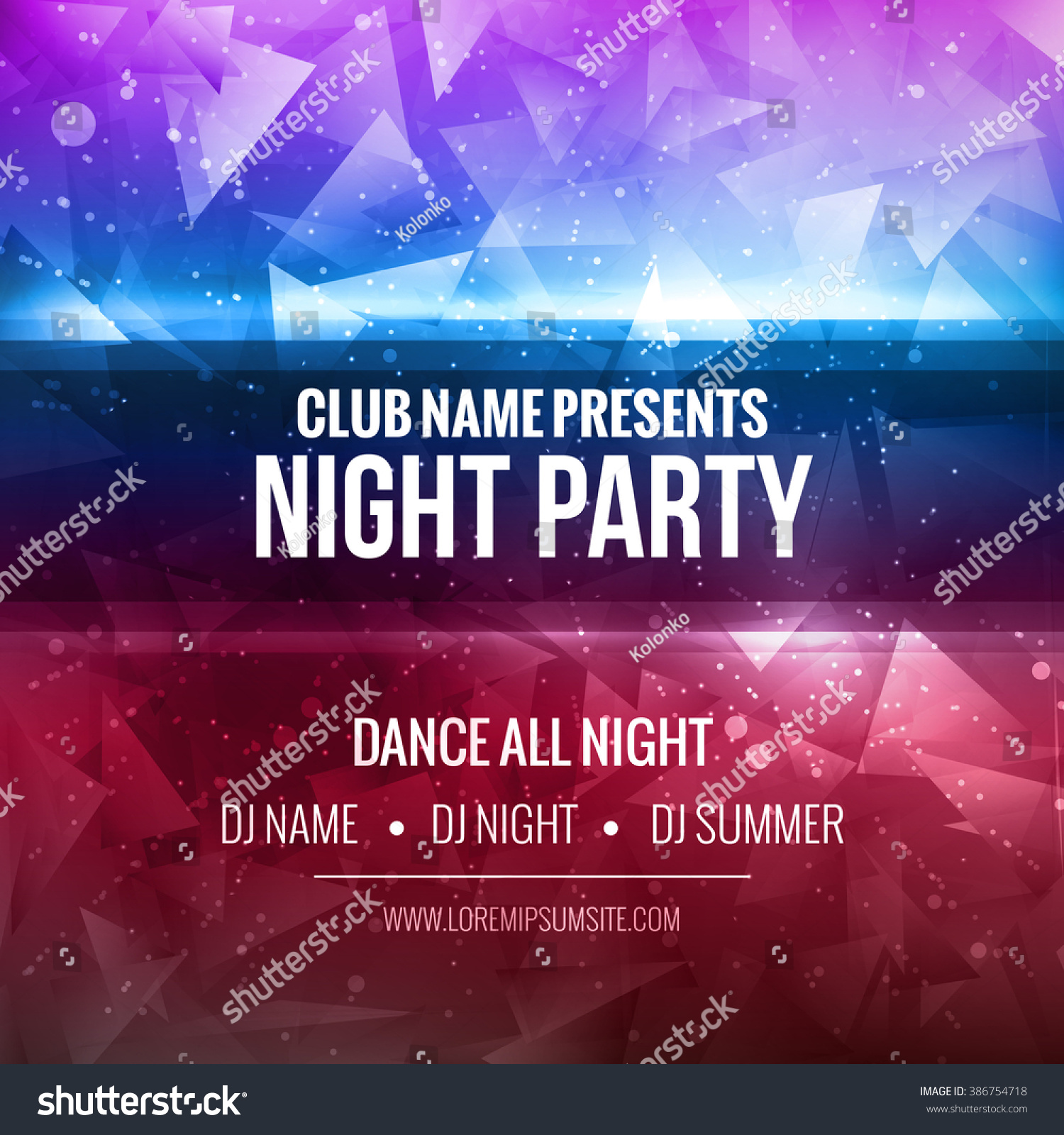 Night Dance Party Poster Background Template Stock Vector (Royalty ...