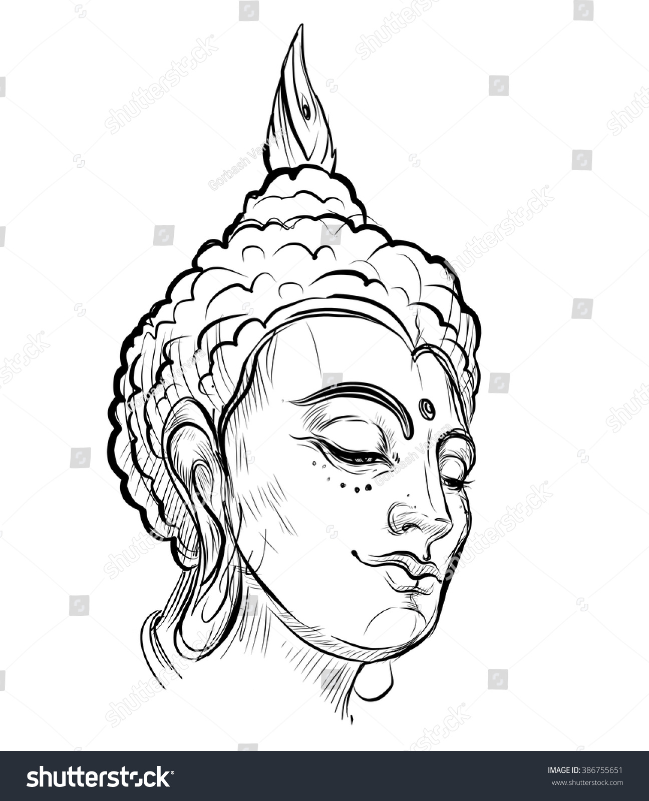 Buddha Face Line Drawing : Buddhas face vector illustration isolated on stock