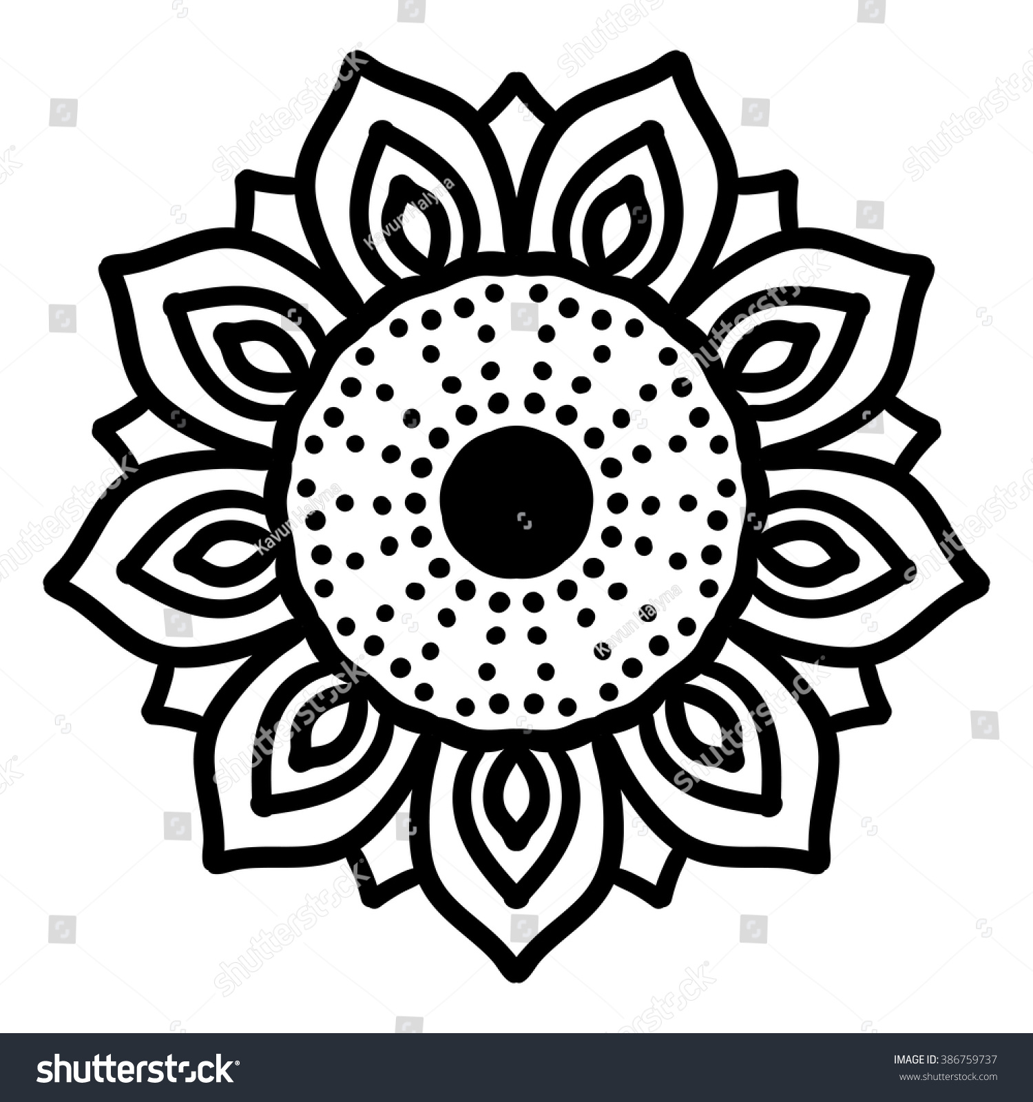 Vector Sunflower Black And White Bohemian Texture Boho Decorative Ornament Mandala Pattern