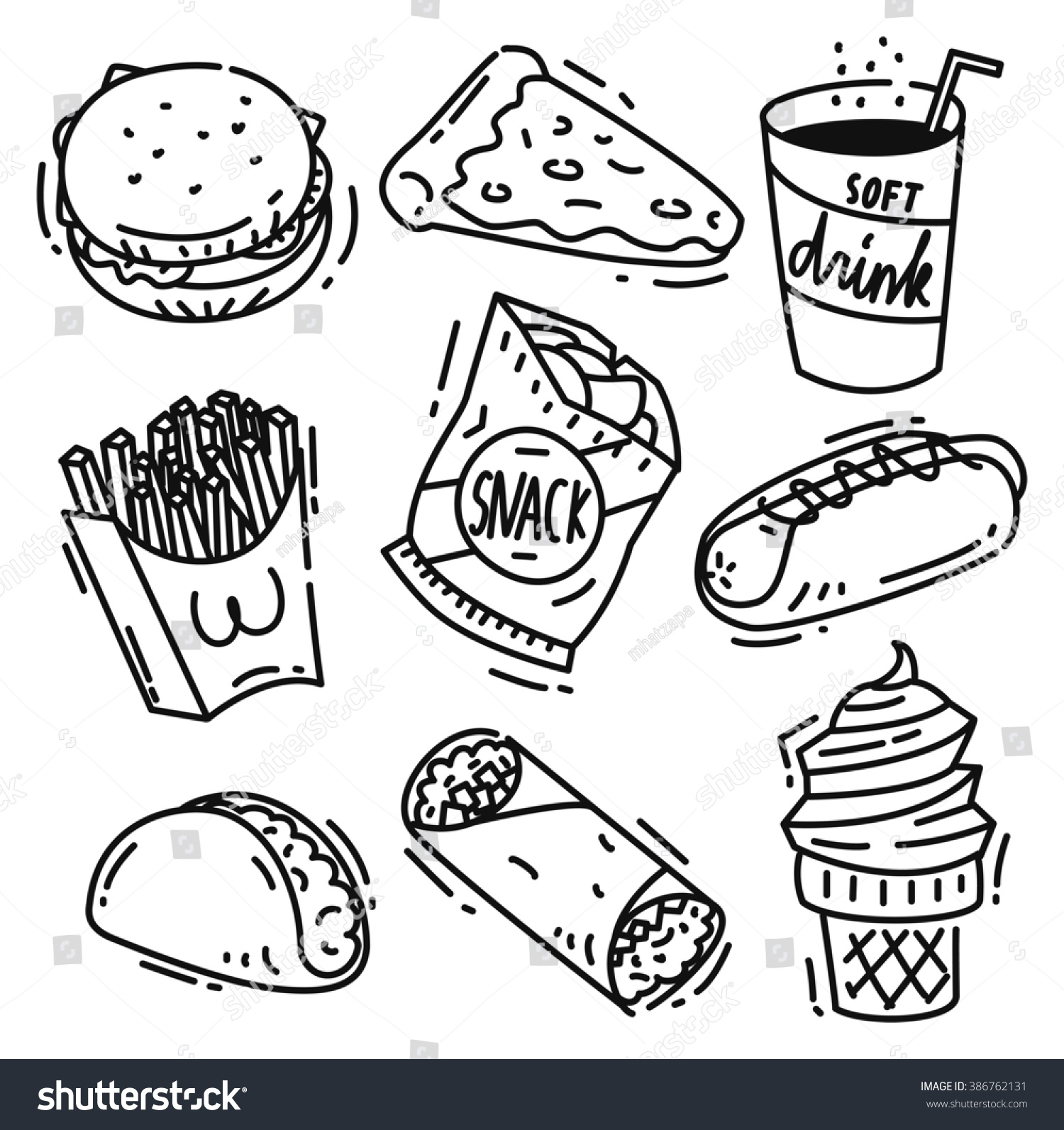 Royalty-free Set of junk food icon doodle isolated