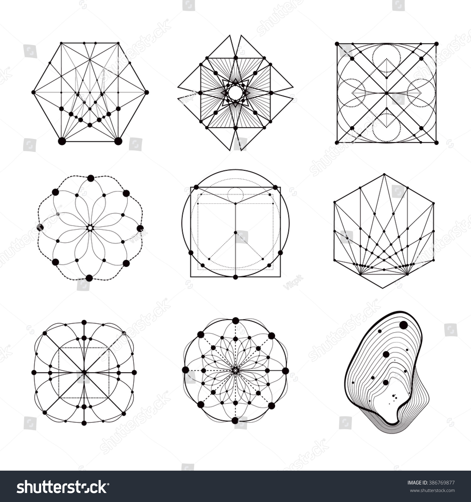 Lines Shapes And Forms : Sacred geometry forms shapes lines logo stock vector