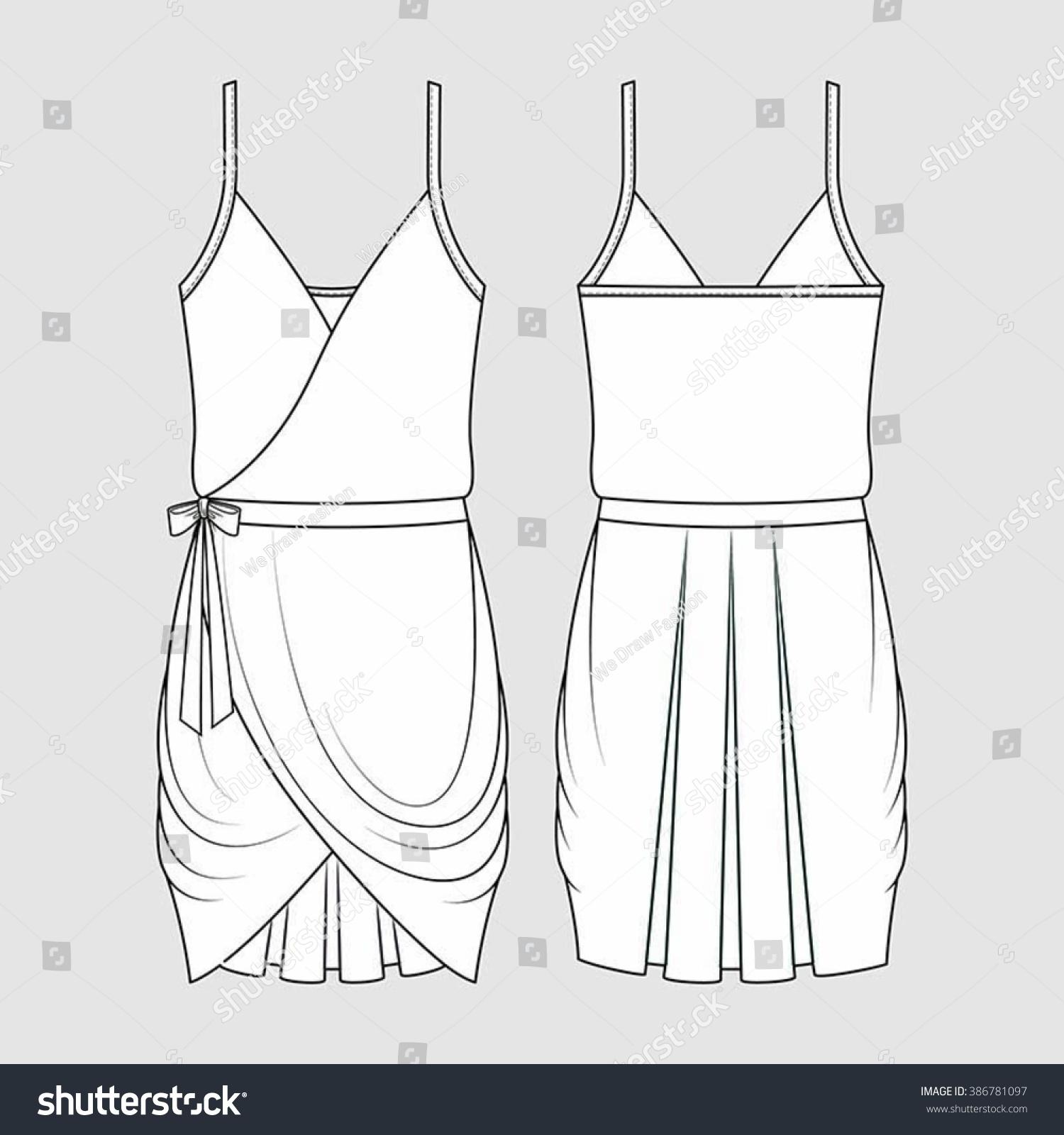 Draped Formal Dress Fashion Illustration Cad Stock Vector Royalty Free 386781097