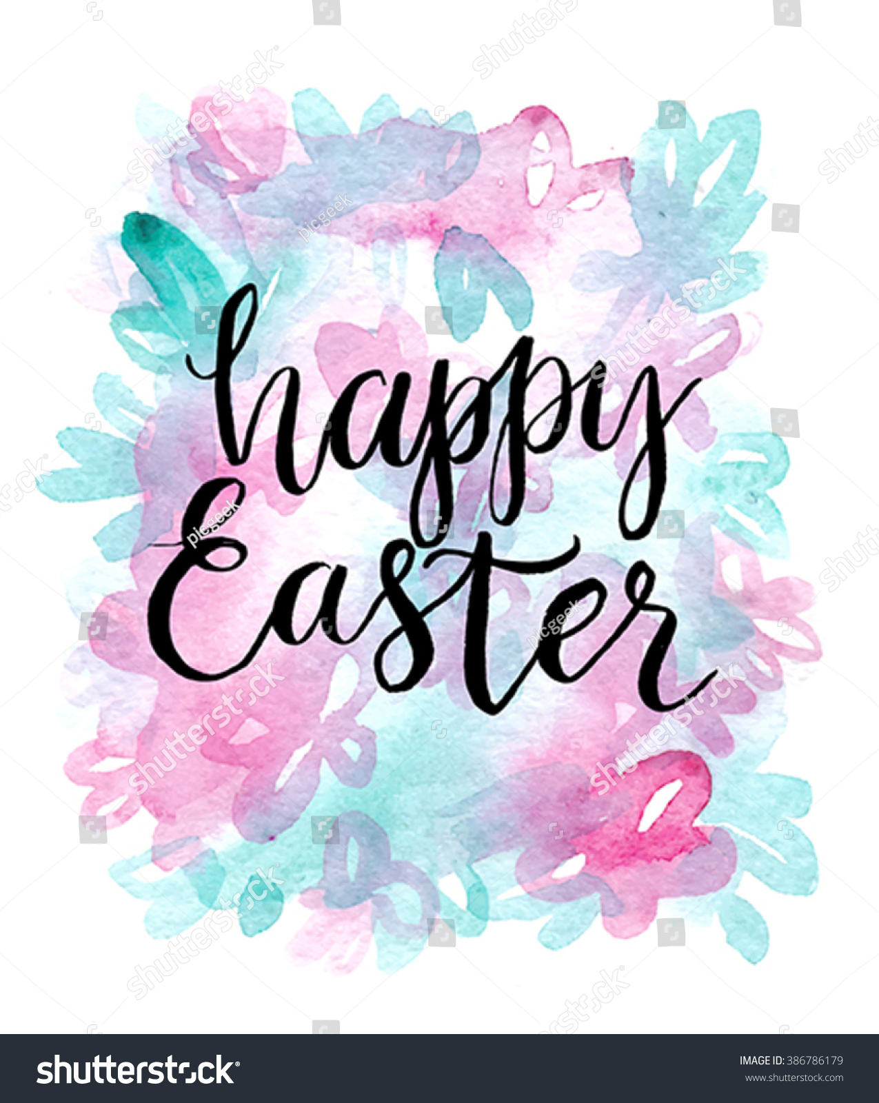 Happy Easter Cards Illustration Font Stock Vector ...