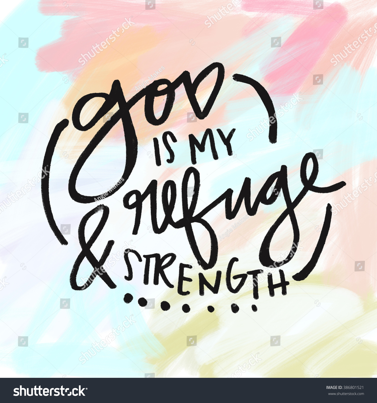Strength Quotes From The Bible God My Refuge Strength Bible Verse Stock Illustration 386801521