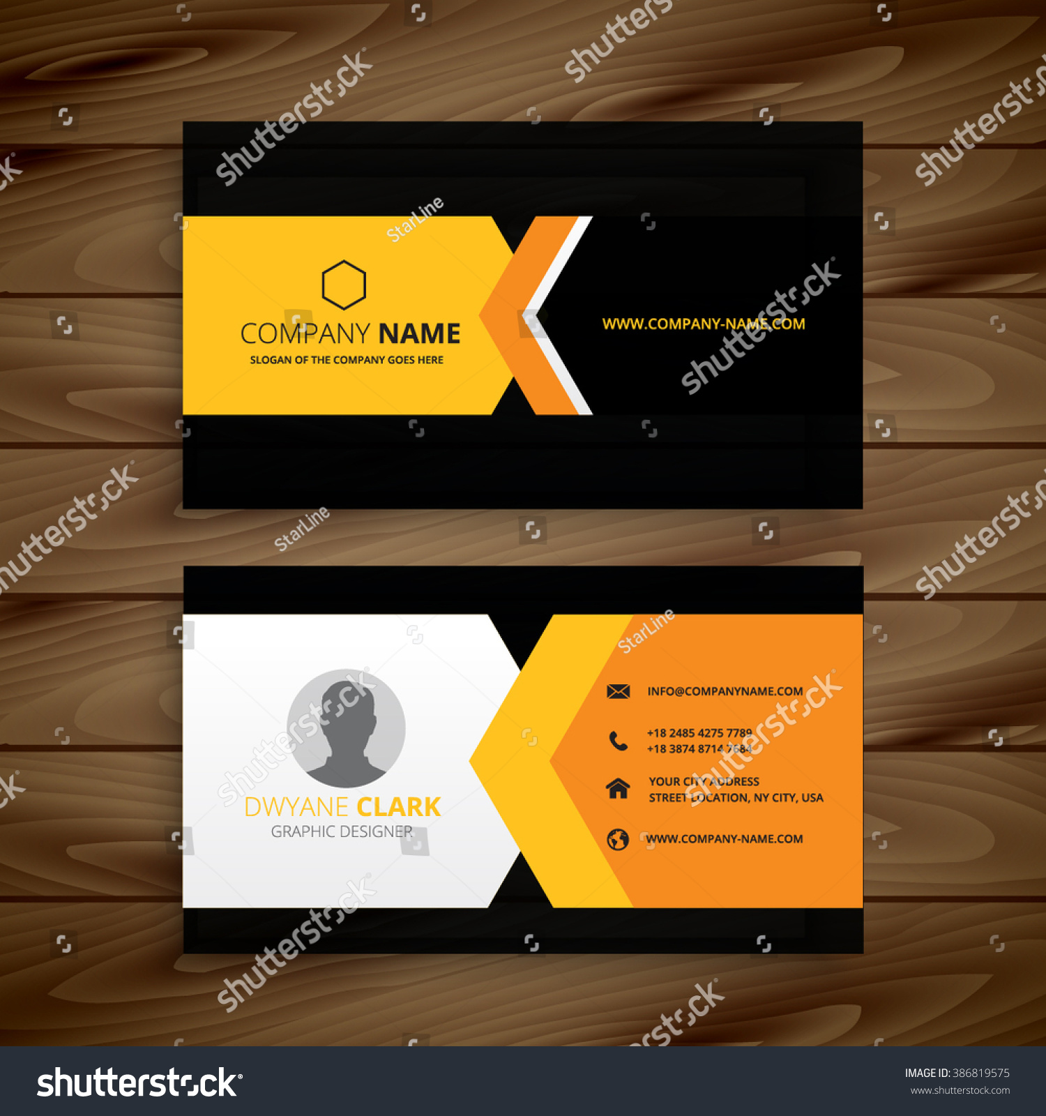 Yellow black business card stock vector 386819575 shutterstock yellow black business card magicingreecefo Images